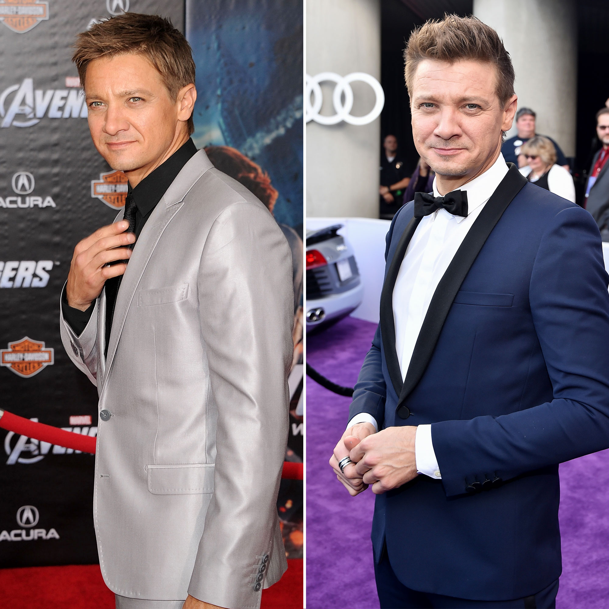 """Jeremy Renner Avengers Premiere First Super Red Carpet to Their Last - The Hurt Locker star took his action scenes next level with Thor as Clint Barton/Hawkeye, and again when he reprised the role in 2012's The Avengers , for which he walked the carpet in a metallic suit jacket. Renner , who now sports a slightly longer due, more than hit his style """"mark"""" at the Endgame premiere, looking dapper as could be in a navy suit jacket and a black bowtie."""