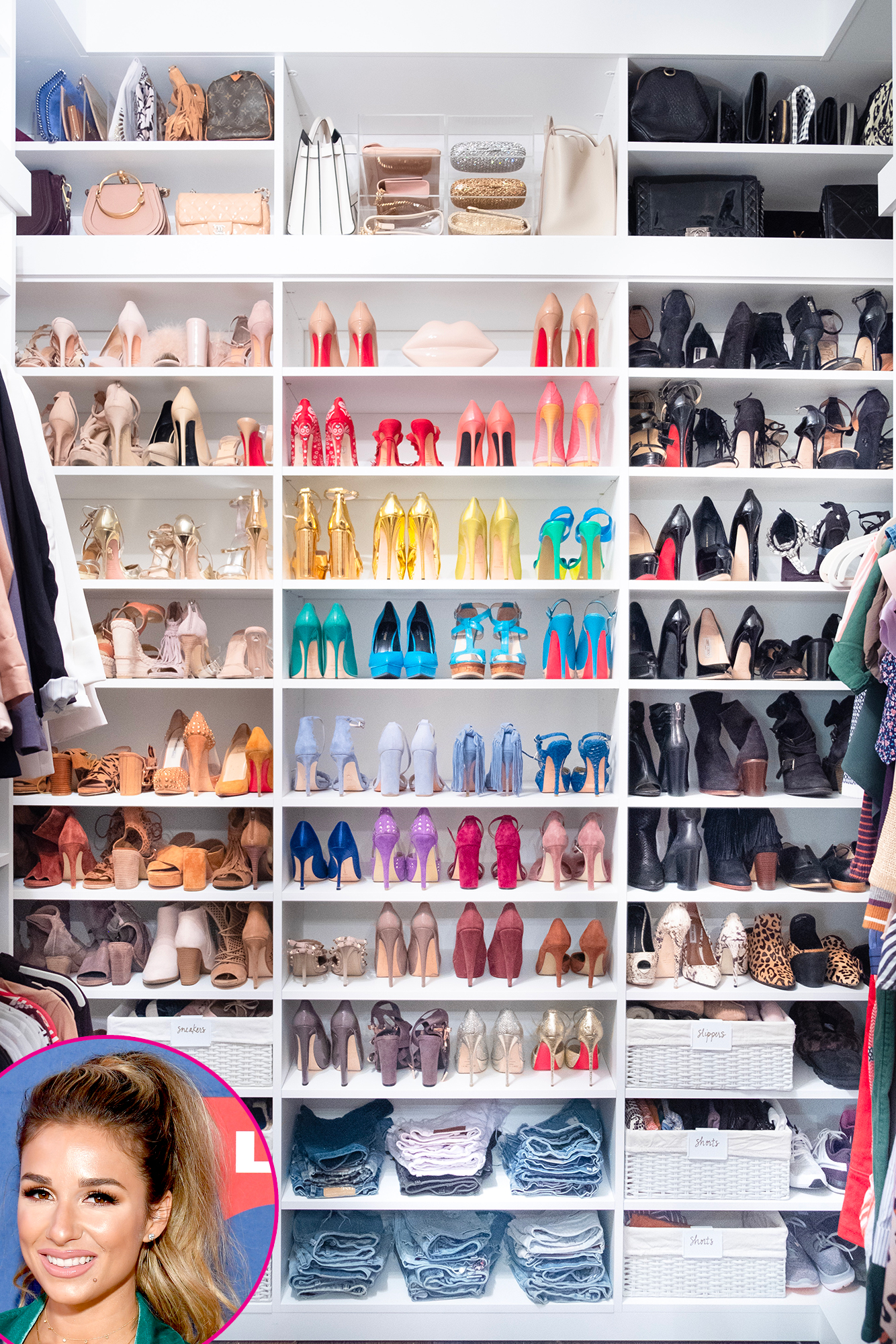 Jessie-James-Decker-Closet - How gorgeous is Jessie James Decker 's shoe closet!? Shearer and Teplin explained their method for color madness to House Beautiful in August 2018.