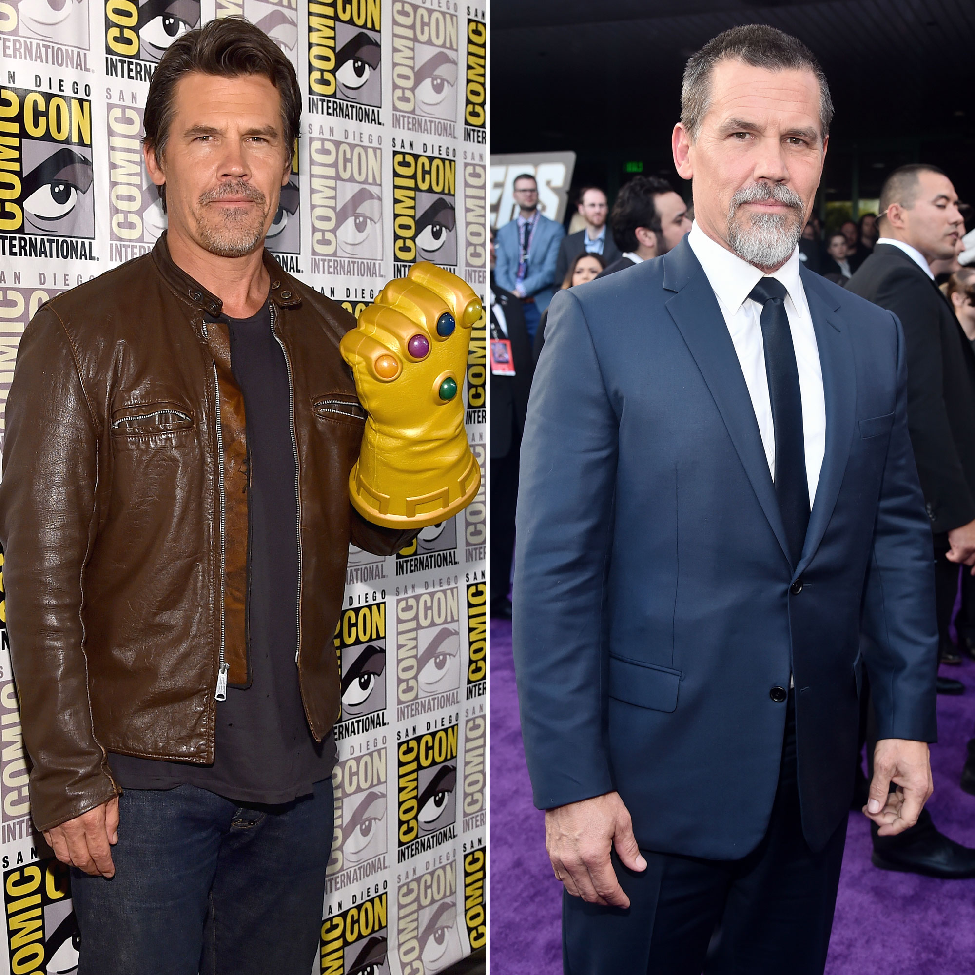 Josh Brolin Avengers Premiere First Super Red Carpet to Their Last - Brolin hit up San Diego Comic-Con festival for Age of Ultron in 2014 with dark brown locks and a brown leather jacket. Five years later, he showed off his distinguished grays and a sleek suit for Endgame .