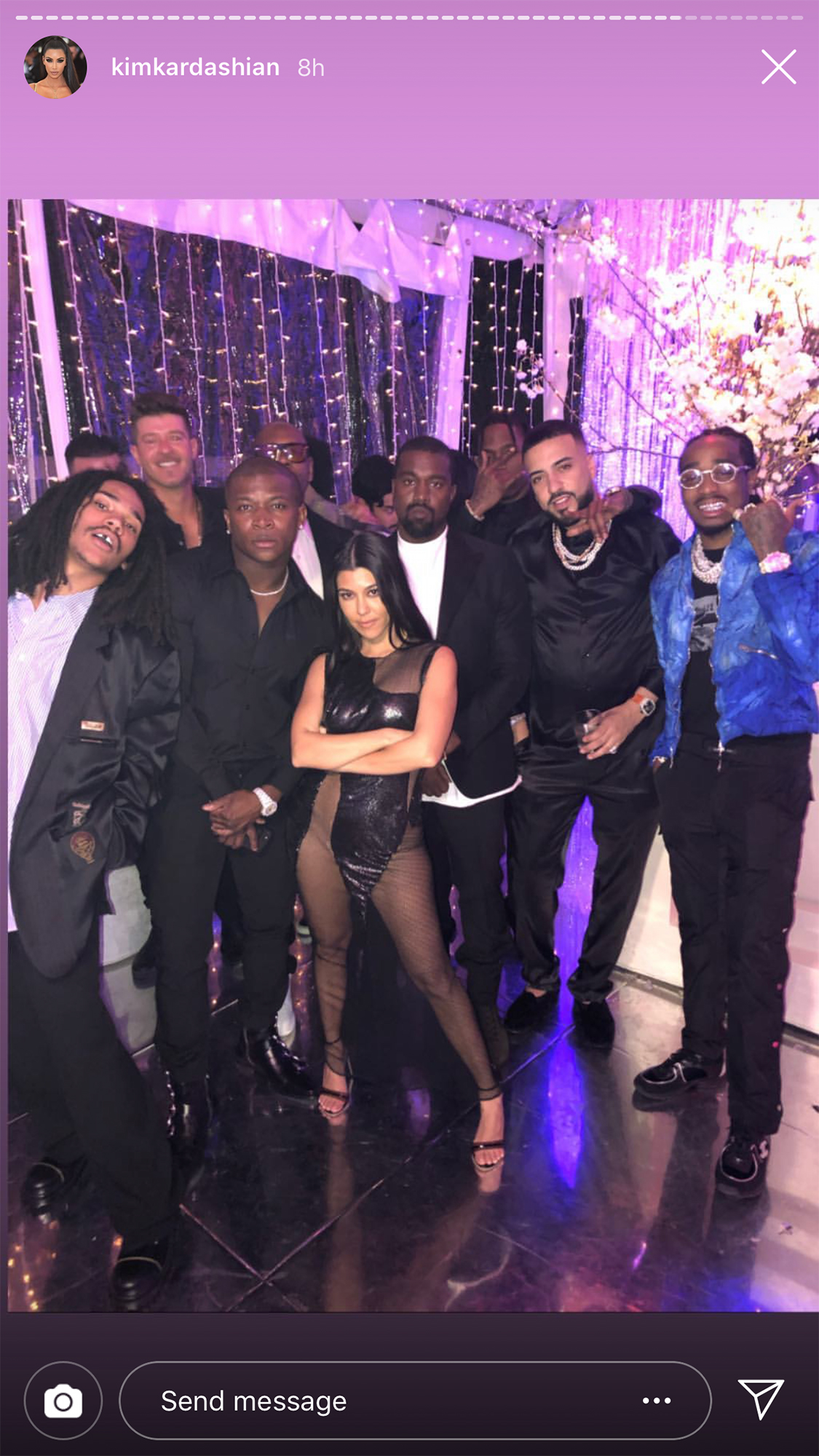 Kourtney Kardashian Birthday Party - The birthday girl posed with Thicke, Khloé's ex French Montana, Kim's husband, Kanye West , and her own recently rumored love connection Luka Sabbat at the party.