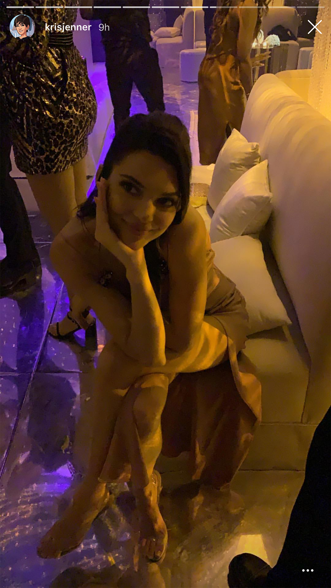 Kourtney Kardashian Birthday Party - Kendall posed on the couch at the bash.