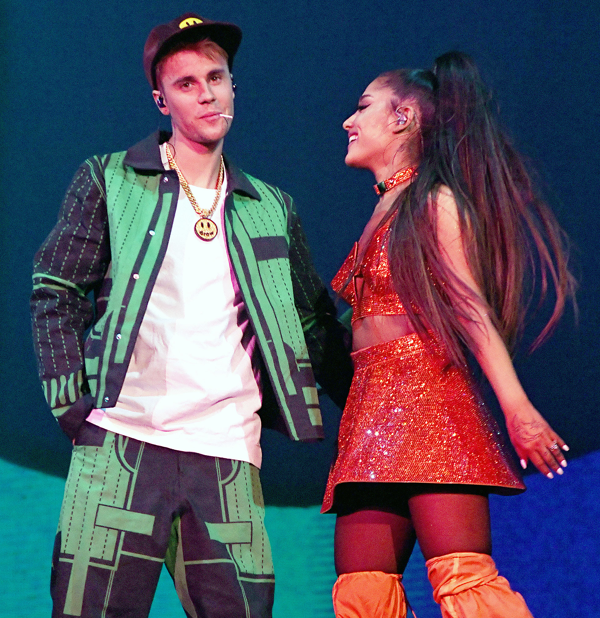 """Justin Bieber Ariana Grande Coachella 2019 - Bieber surprised fans by crashing Grande's set — and announcing his new album — during the second weekend of the music festival. """"I had to get my groove back, I had to get my swag back, you know what I'm saying? So, thank you so much, Coachella. Thank you so much, Ariana Grande,"""" Bieber told the crowd after performing his hit """"Sorry"""" with the pop star."""