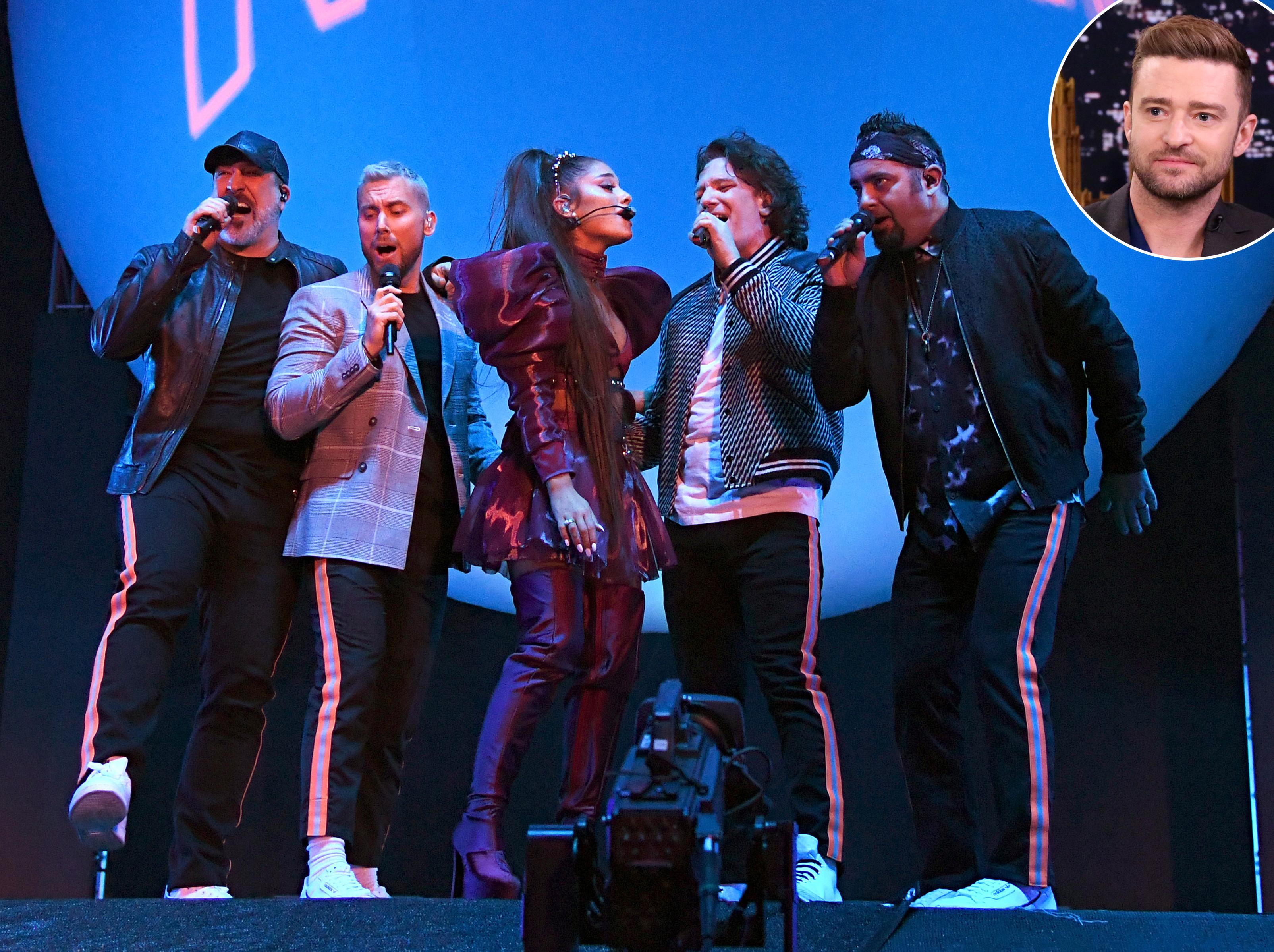 Justin Timberlake Coachella Ariana Grande NSync.jpg - Ariana Grande, Joey Fatone, Lance Bass, JC Chasez, and Chris Kirkpatrick, and Justin Timberlake.