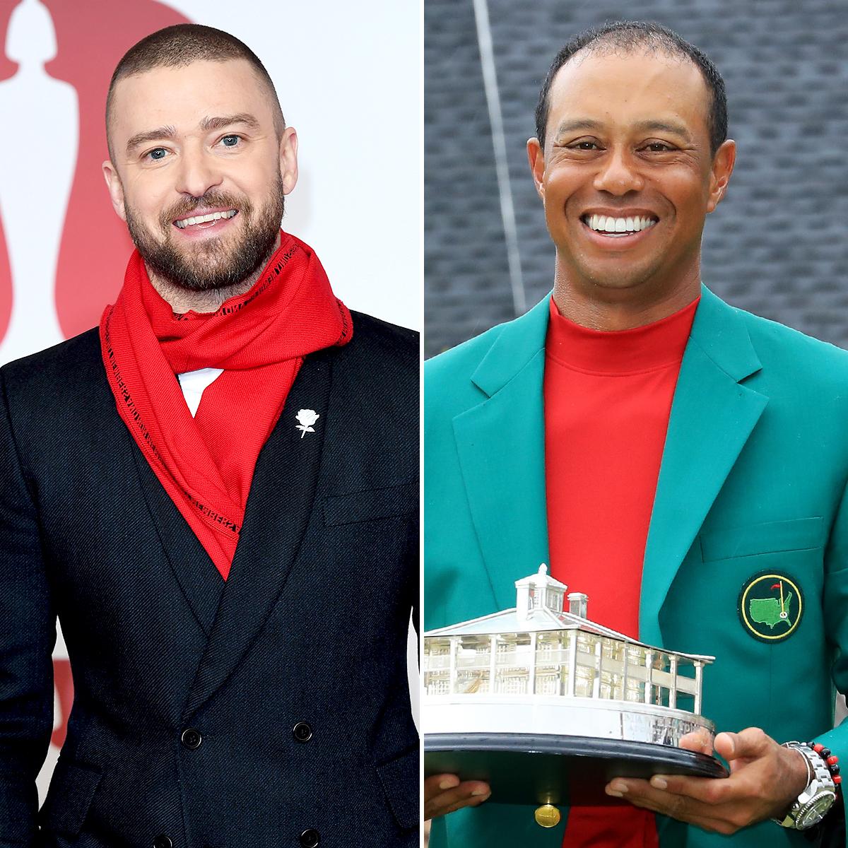 Justin Timberlake Tiger Wood Bonded Over Kids - Justin Timberlake and Tiger Woods