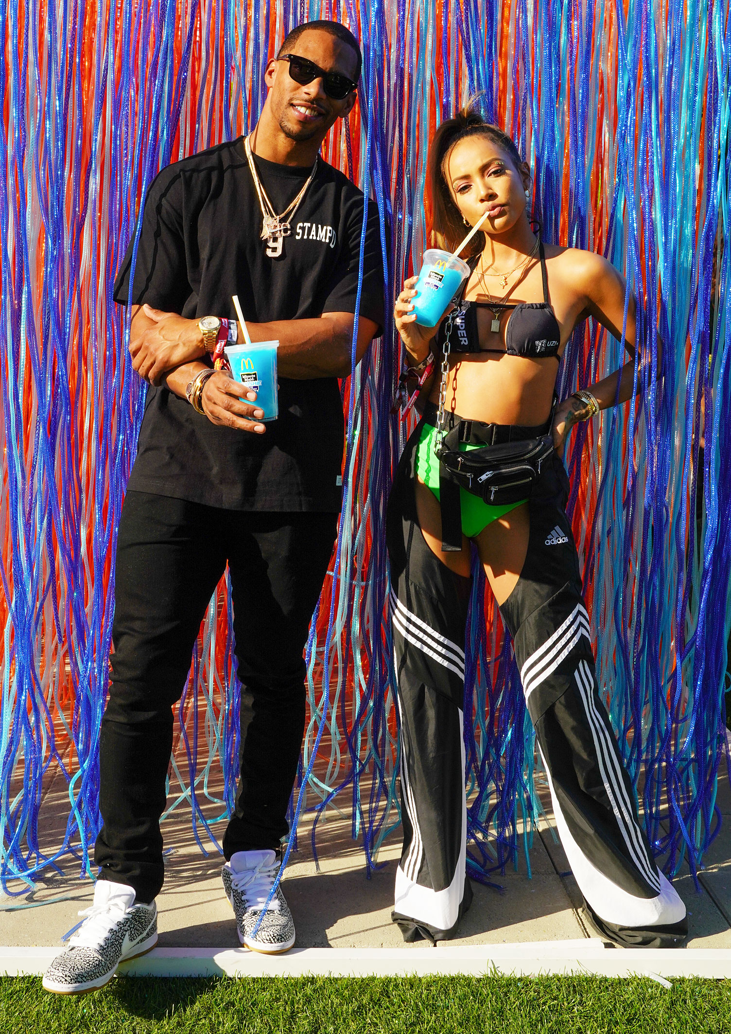 Karrueche Tran Victor Cruz Minute Maid Blue Raspberry Slushies Coachella - The hot couple cooled down with Minute Maid Blue Raspberry Slushies during the Bootsy Bellows Pool Party Presented by McDonald's and PacSun. The exclusive drink, only available at participating McDonald's for a limited time was the 'coolest' festival item this year.