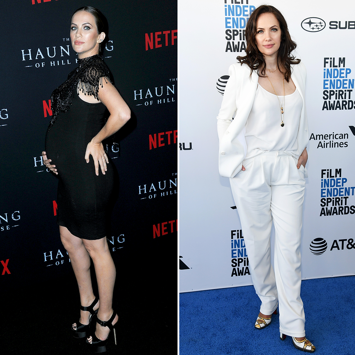 Kate-Siegel-post-baby-body - The Haunting of Hill House actress, 36, welcomed her second baby, daughter Theodora, with husband Mike Flanagan in December 2018. By the time the star showed up in a sexy white pantsuit at the Film Independent Spirit Awards on February 23, 2019, she was already looking trim!