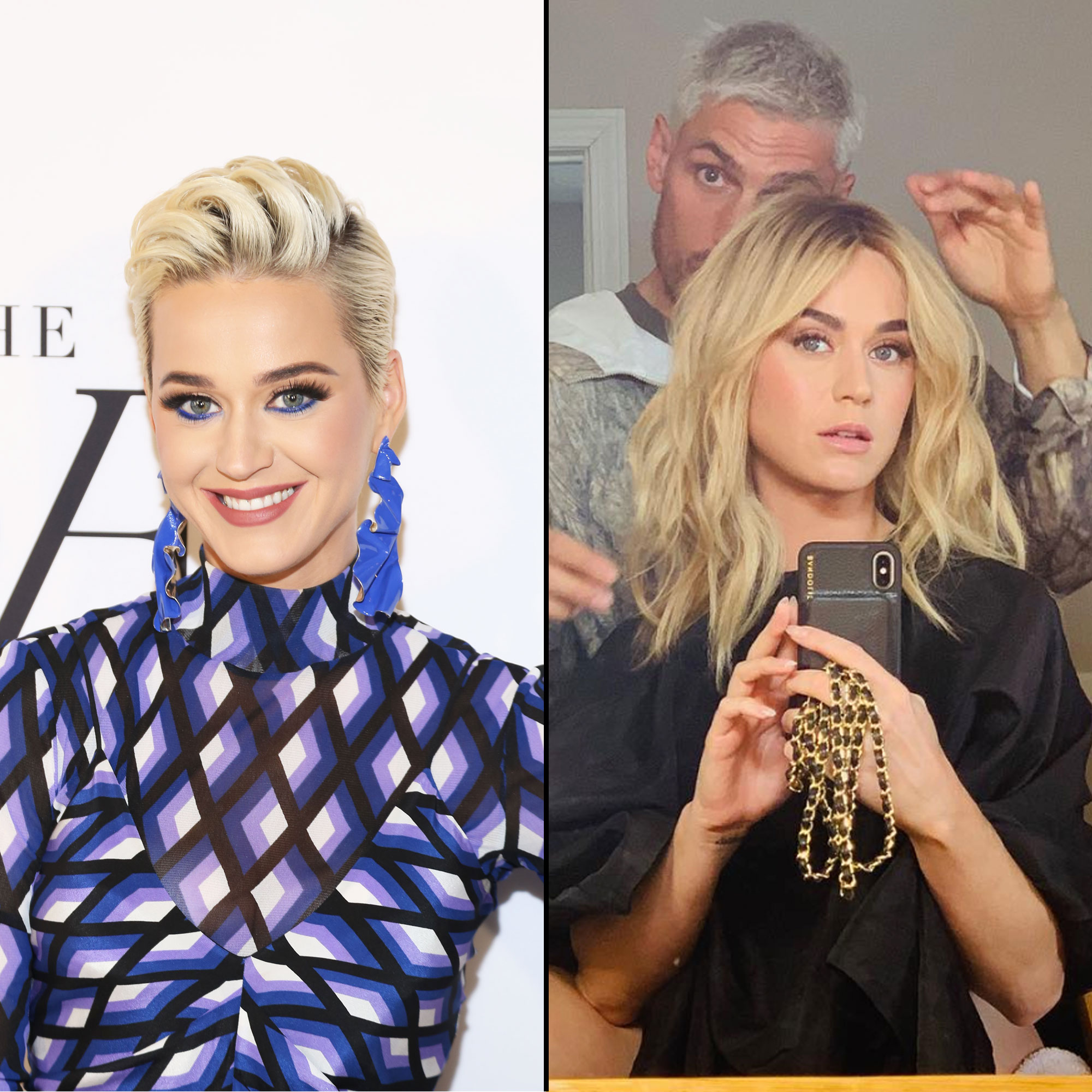 """Katy Perry wig blonde hair - Showing off another totally new hairstyle, on April 19, 2019, the """"Roar"""" singer posted an Instagram looking unrecognizable in a shoulder-length, wavy blonde wig."""