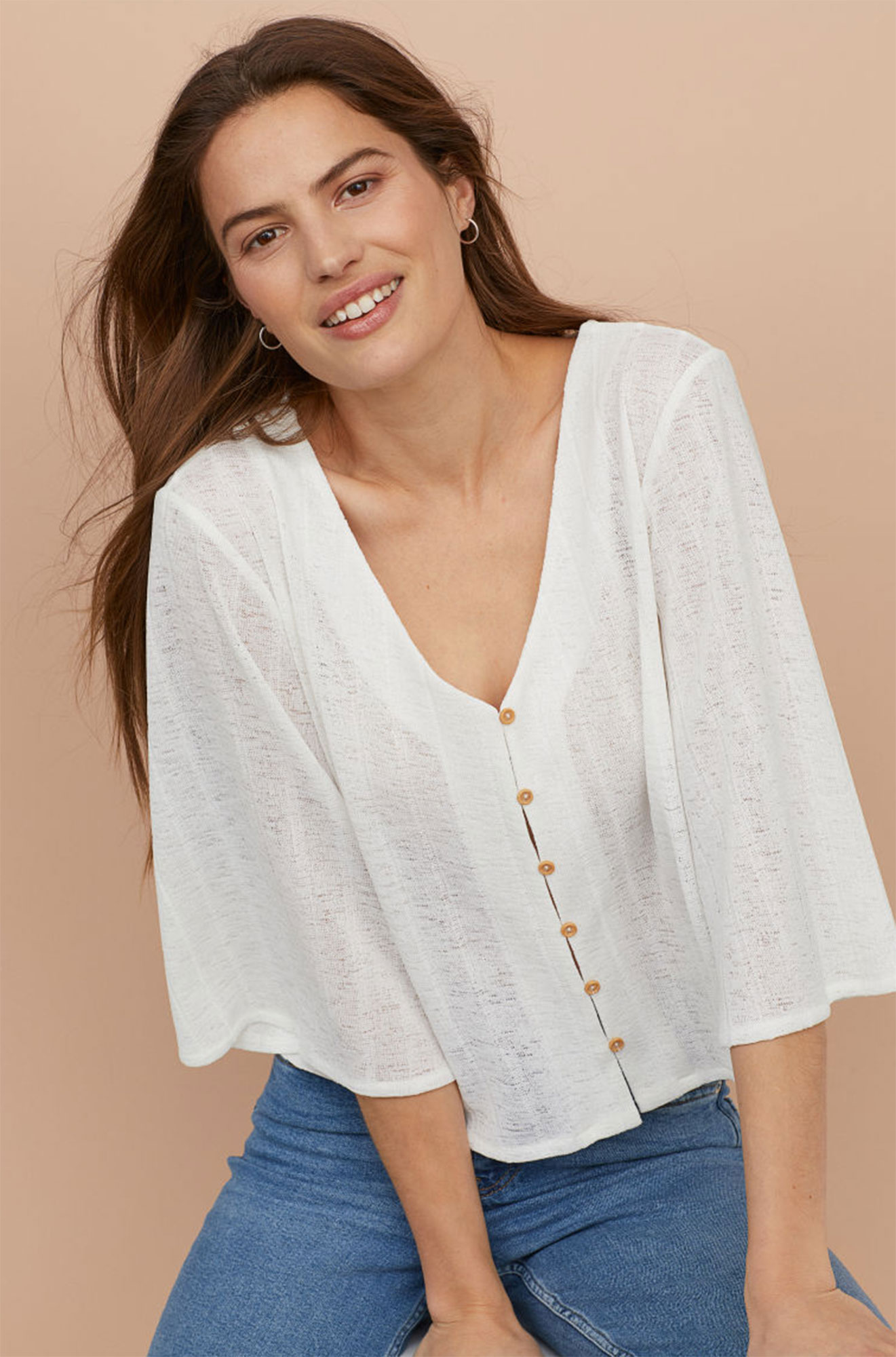 Kendal Jenner Is Bringing Back the Cropped Cardigan ‹ and So Can You - Fluttery butterfly sleeves up the flinty factor of this semi-sheer topper a festival season-must. $24.99, hm.com