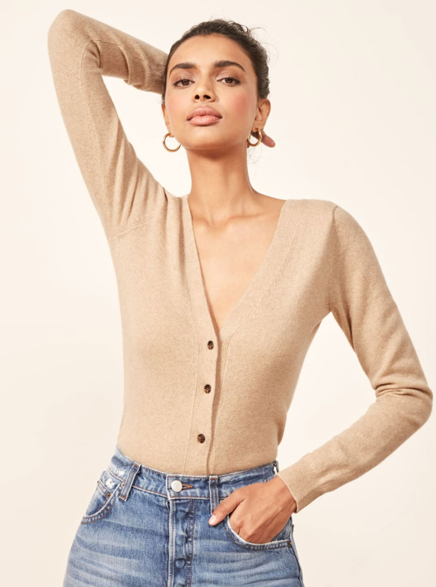 Kendal Jenner Is Bringing Back the Cropped Cardigan ‹ and So Can You - May we suggest you leave simple V-neck (made of 70 percent recycled cashmere!) on the back of your desk chair for chilly office afternoons. $148, thereformation.com