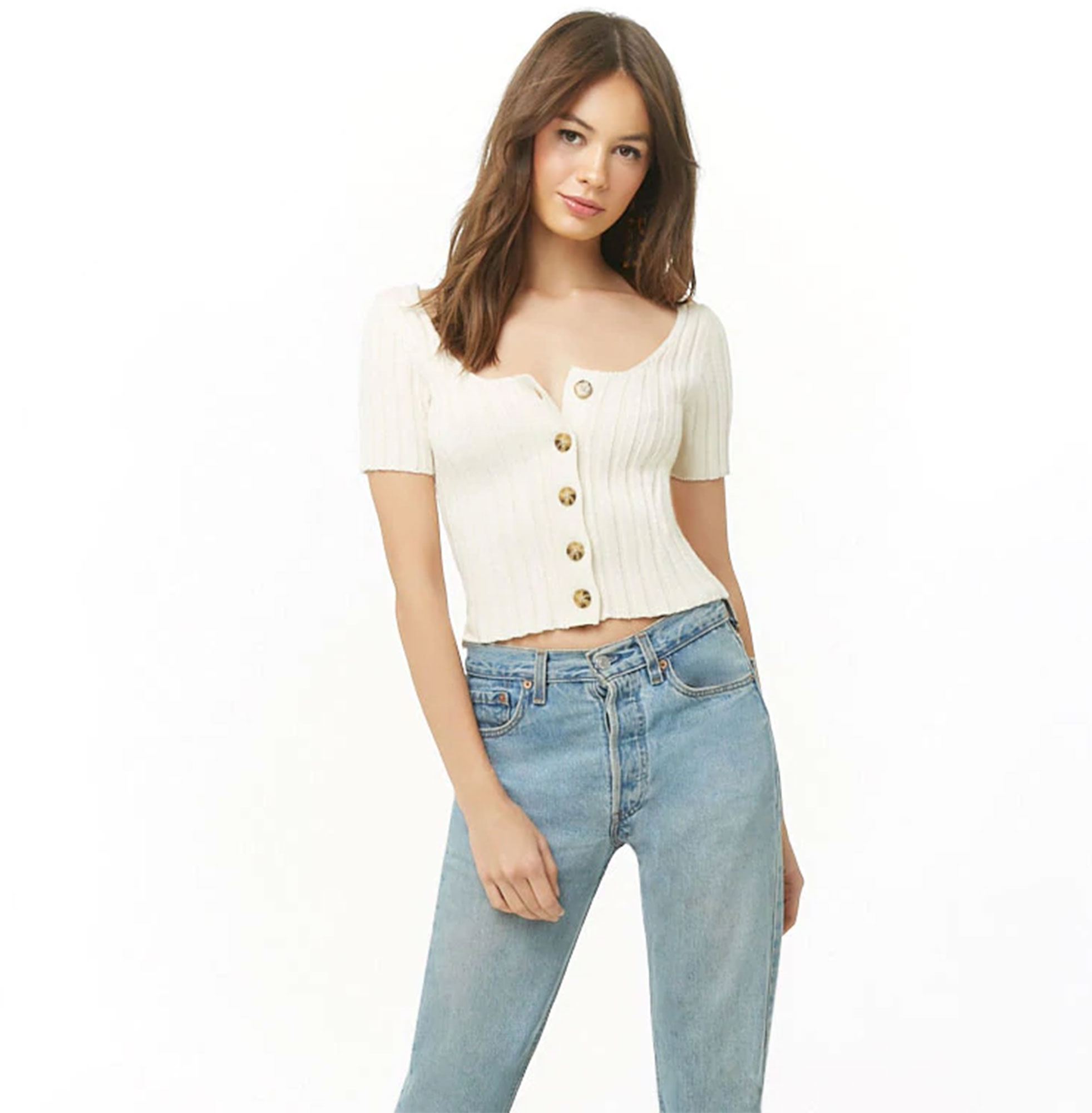 Kendal Jenner Is Bringing Back the Cropped Cardigan ‹ and So Can You - Short sleeves, a scoop neck and a wide-pane ribbing make this sweater-shirt perfect for summer. $19.90, forever21.com