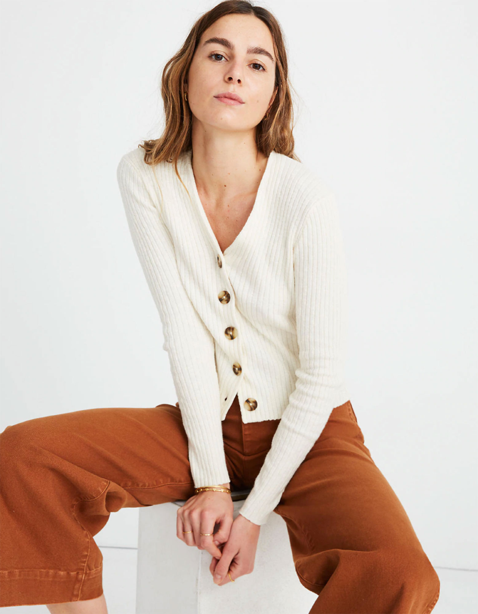 Kendal Jenner Is Bringing Back the Cropped Cardigan ‹ and So Can You - Wear this fitted ribbed top alone or over your favorite '90s-inspired slip dress. $69.50, madewell.com
