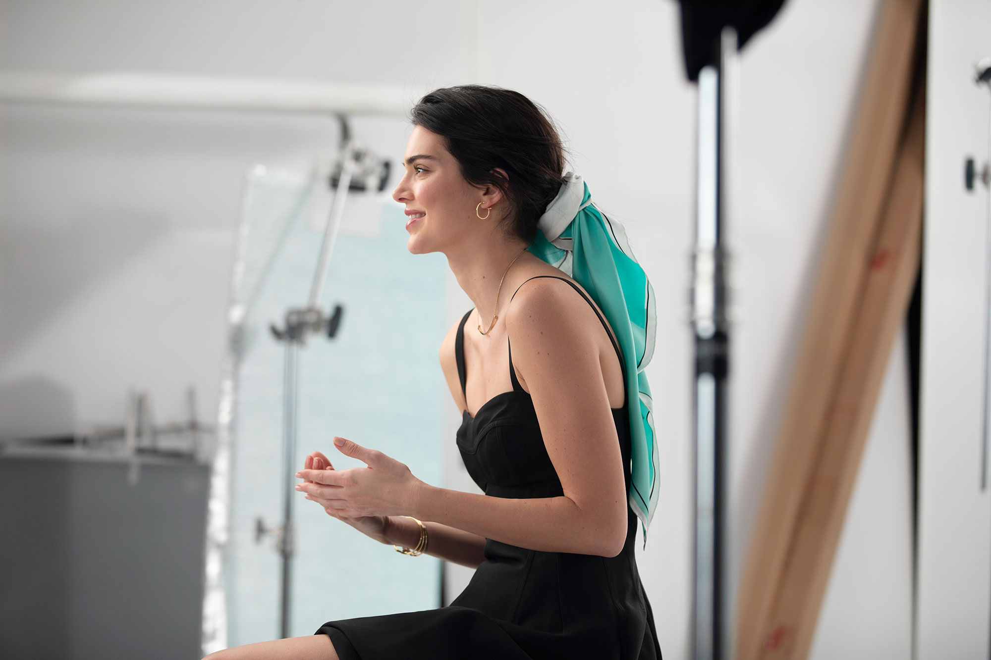 Kendall Jenner Tiffany & Co. Spring Campaign Diamonds - It's not the jewels that we envy in this profile snap, it's that stunning silk hair scarf!