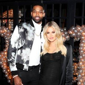 Tristan Thompson and Khloe Kardashian birthday party pregnant blonde hair