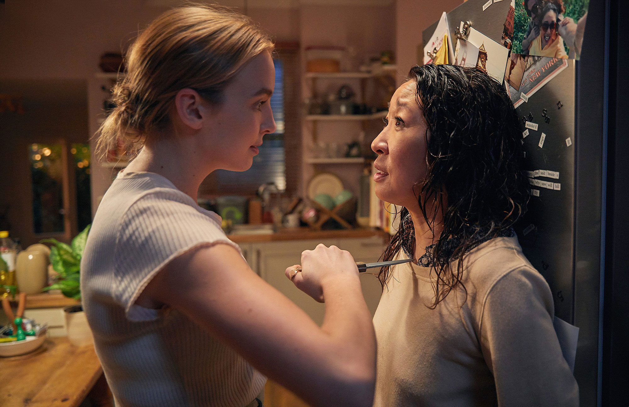 Killing Eve - After killing it at the Globes ( Sandra Oh took home best actress!), the BBC America hit returns for its sophomore season, picking up 30 seconds after we last saw Sandra's Eve and Jodie Comer 's Villanelle. Eve is desperate to find out what happened to Villanelle (who she stabbed at the end of season 1), and she's not the only one searching for the hit woman.