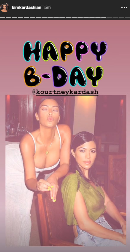 "Kim Kardashian Tribute to Kourtney Kardashian on Her 40th Birthday - The KKW Beauty founder also shared a sentimental message followed by six photos that showed the siblings goofing off and posing together. ""Happy Birthday @kourtneykardash I honestly can't believe the life we have lived! It's such a dream to go through it all with having a sister like you by our side!"""