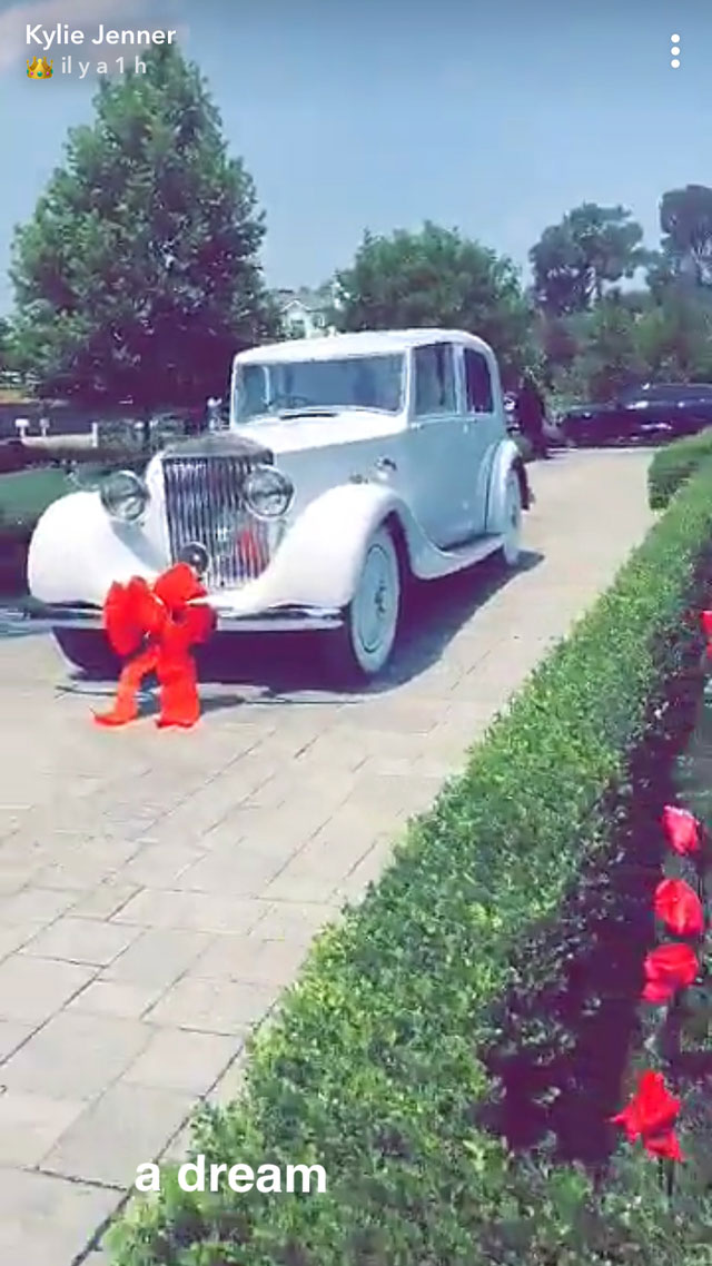 """Kylie and Travis Sweetest Quotes Snapchat Rolls Royce 21st Birthday - The rapper, who gifted Jenner with a Rolls-Royce for her 21st birthday, also celebrated the Kylie Cosmetics CEO on Instagram Stories. """"Love u baby happy bday."""""""