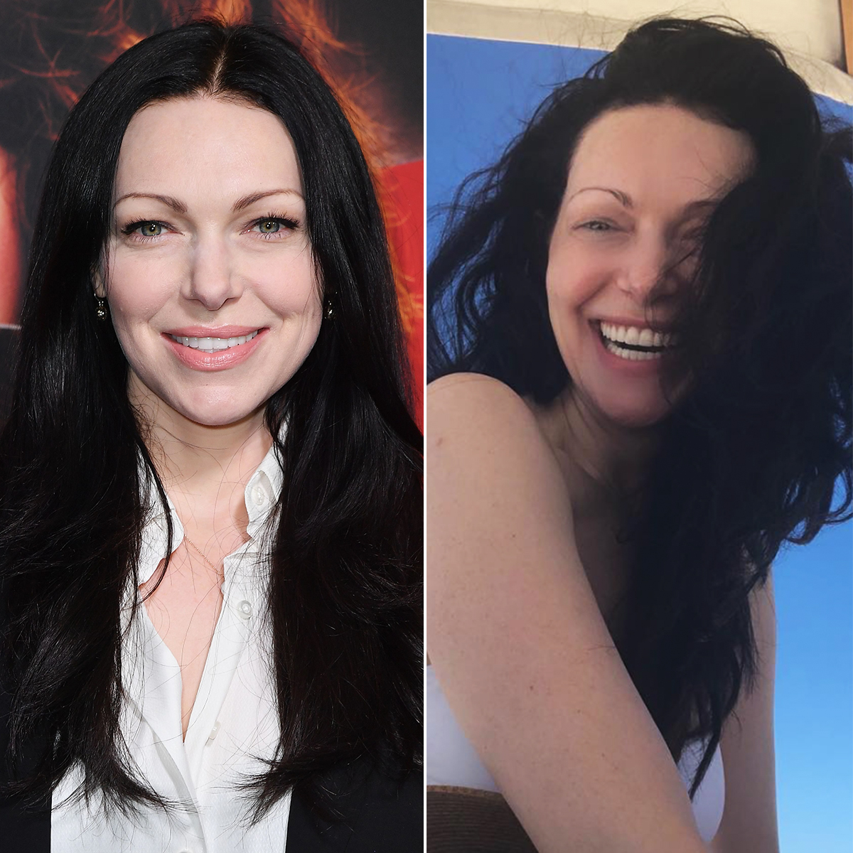 """Laura-Prepon-with-and-without-makeup - In a totally flawless, makeup-free snap on April 10, 2019, the Orange Is the New Black star informed Us that, """"vampires can go to the beach, too, they just have to stay in the shade."""""""