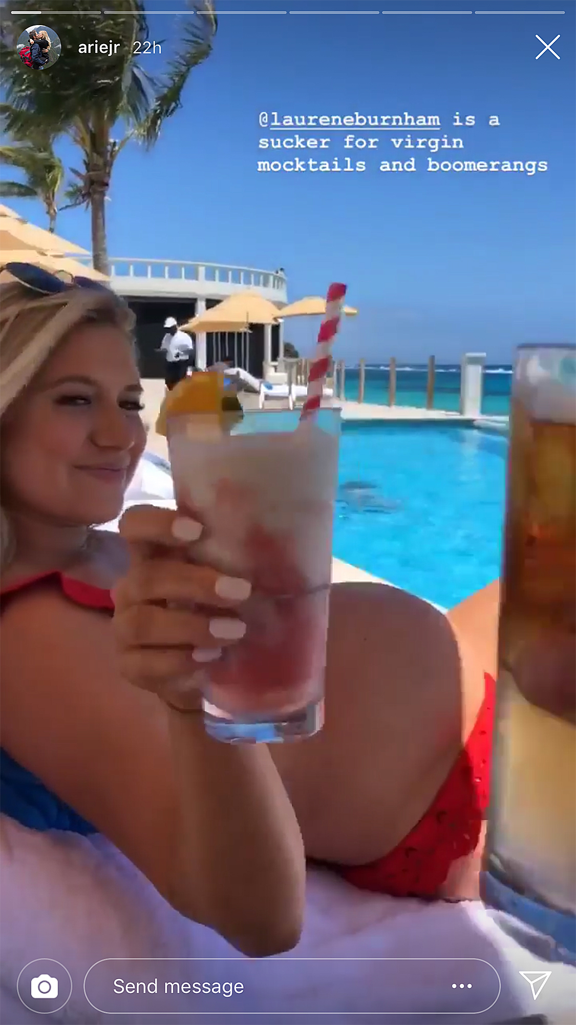"Arie Luyendyk Jr. and Lauren Burnham Bermuda Babymoon - ""@laureneburnham is a sucker for virgin mocktails and boomerangs,"" the former Bachelor captioned a video of his wife poolside on Monday, April 22. She held a red drink while sporting a red bikini."