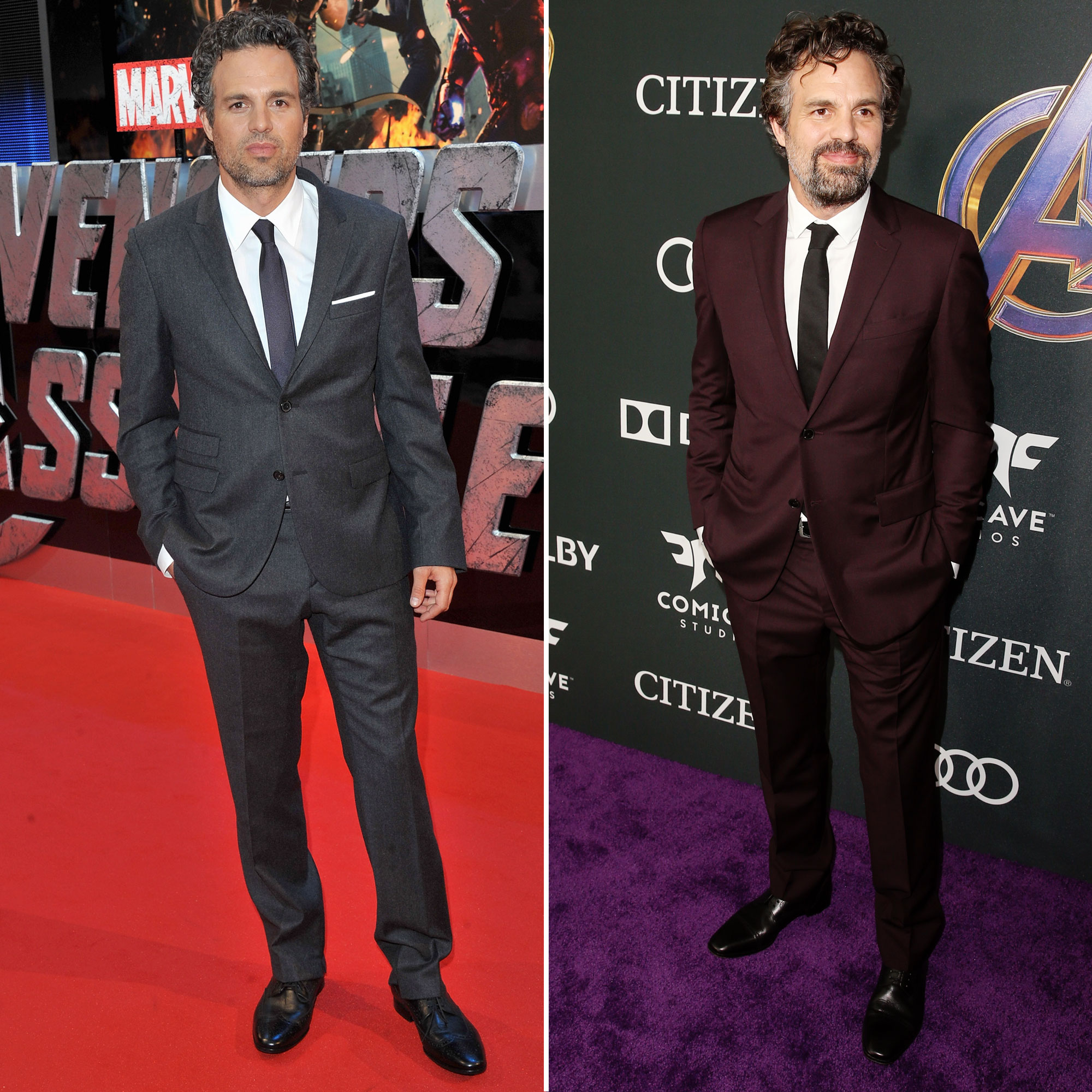 """Mark Ruffalo Avengers Premiere First Super Red Carpet to Their Last - Ruffalo shed his """"sweet guy"""" image from 13 Going on 30 as he became The Hulk in The Avengers . He also shed his clean-shaven look from the 2012 premiere in London, adding some scruff and a little color to his outfit."""