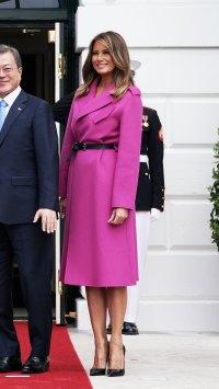 Melania Trump $4,800 Louis Vuitton pink Coat