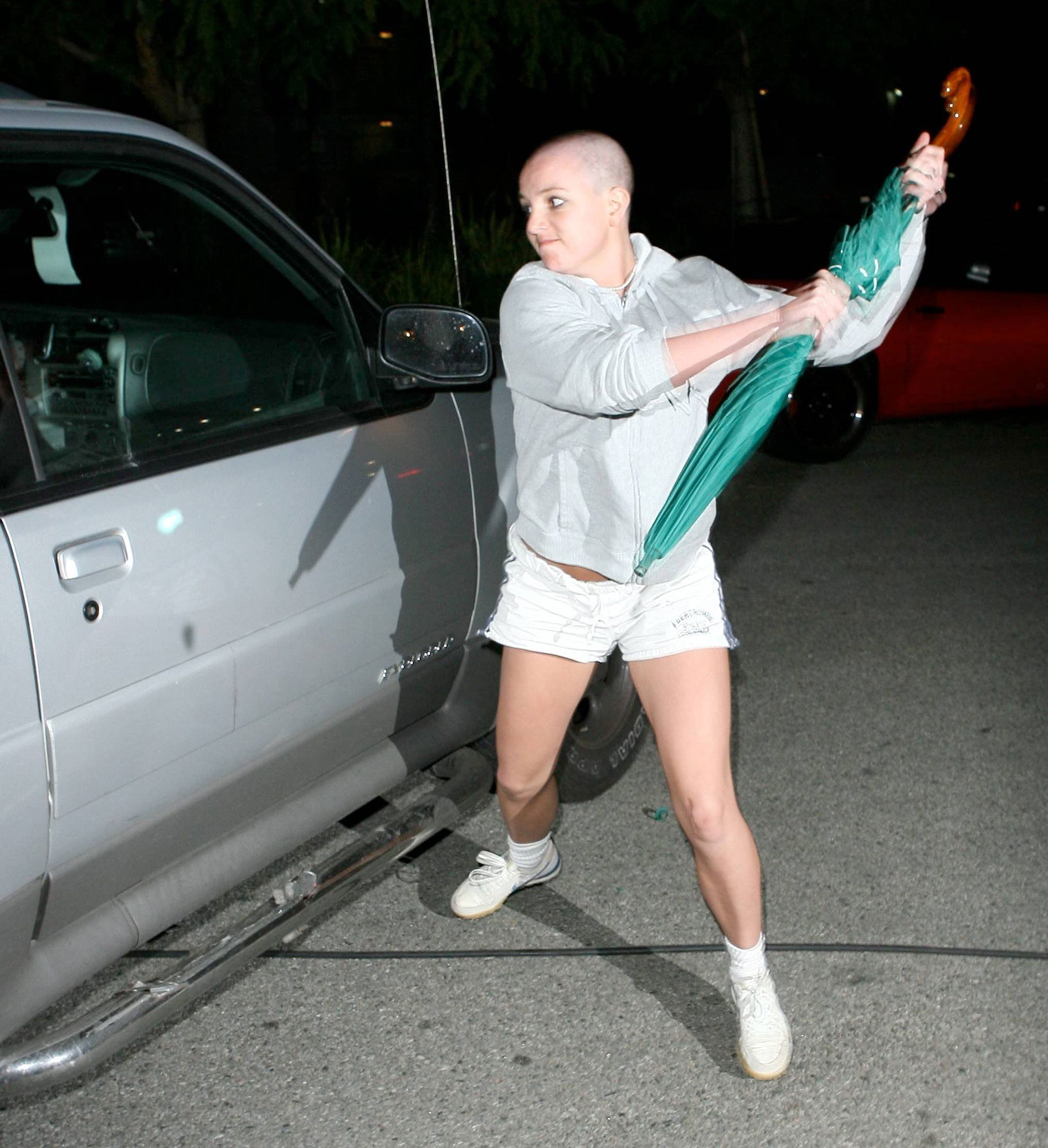 Britney Spears' Ups and Downs gallery - Spears hit a breaking point in 2007 when paparazzi captured her shaving her head at a hair salon and subsequently attacking a photographer's car with an umbrella. A struggle with addiction, an undisclosed mental illness and a bitter custody battle with Federline were reportedly behind her behavior.