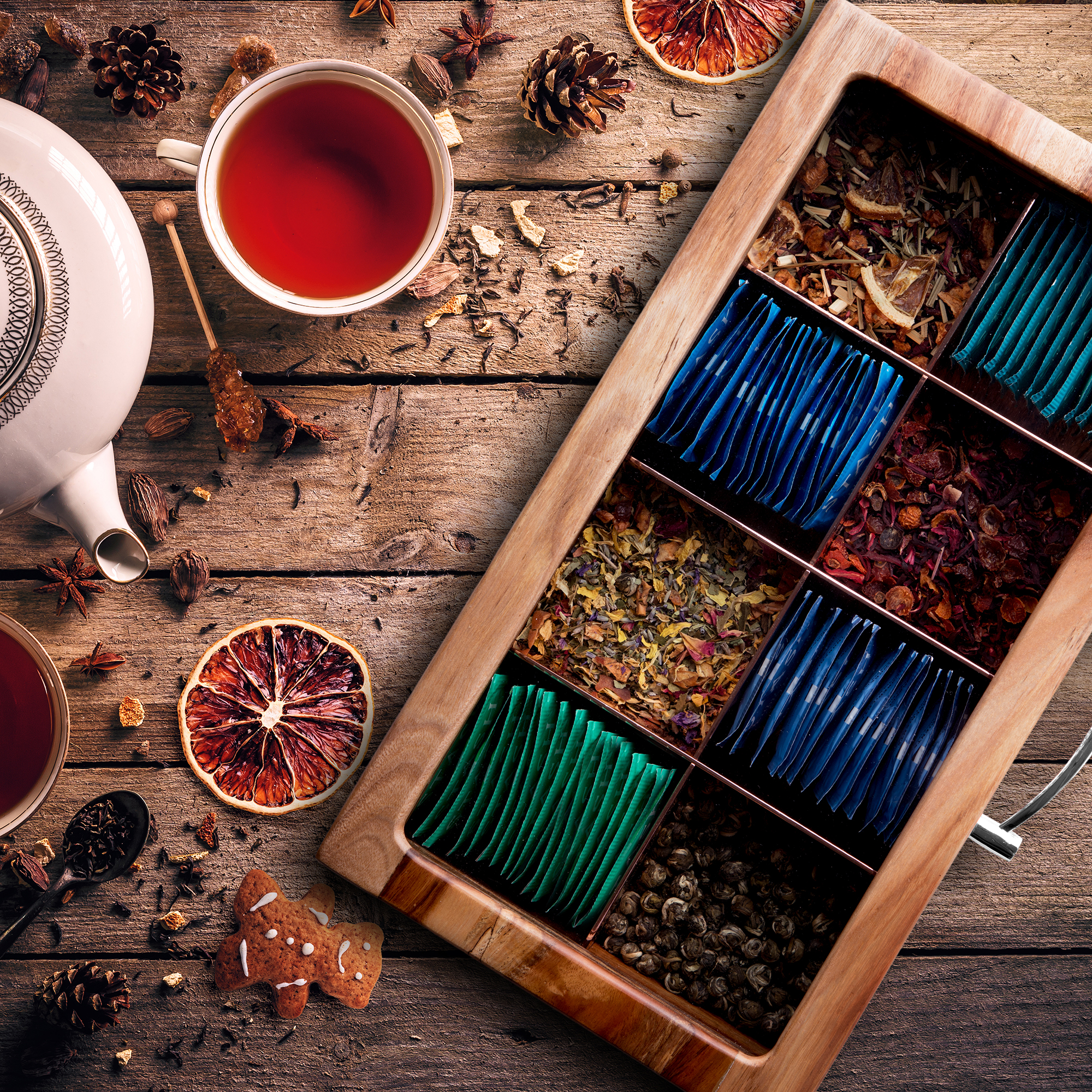 Mijenko-Tea-Storage - This solid hardwood box with stainless steel dividers stores tea bags and loose tea alike.
