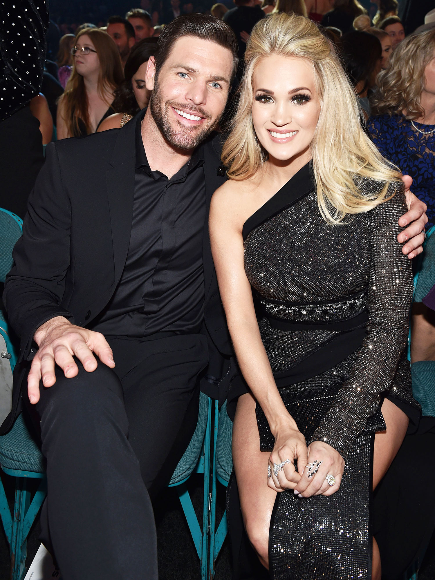 Inside ACM Awards 2019 Mike Fisher Carrie Underwood - Carrie Underwood and Mike Fisher , who welcomed son Jacob in January , were dressed to the nines. (The couple also share son Isaiah.)