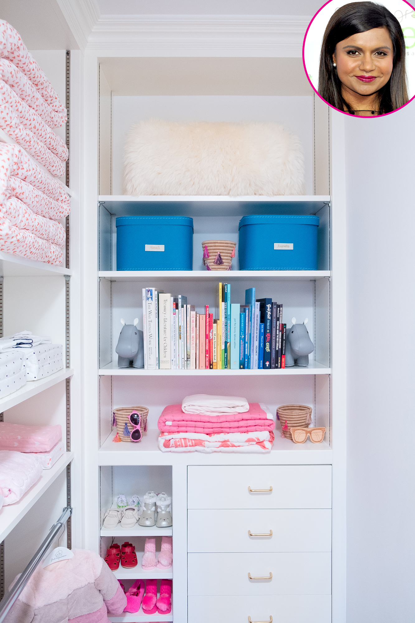 Mindy-Kaling - The company gave the Office alum a perfectly sweet space to store her daughter Katherine's things.