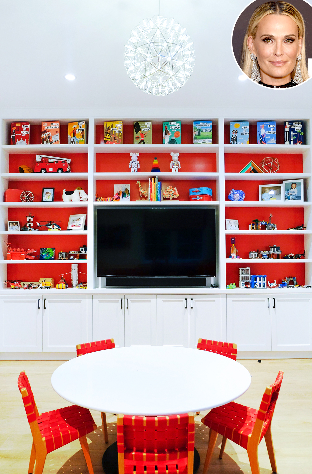 "Molly-Sims-Playroom - The model showed off her kids' playroom on her blog , revealing her must-haves that The Home Edit delivered on. ""Cubbies that tuck away into shelving or drawers. Gotta have 'em,"" she wrote."