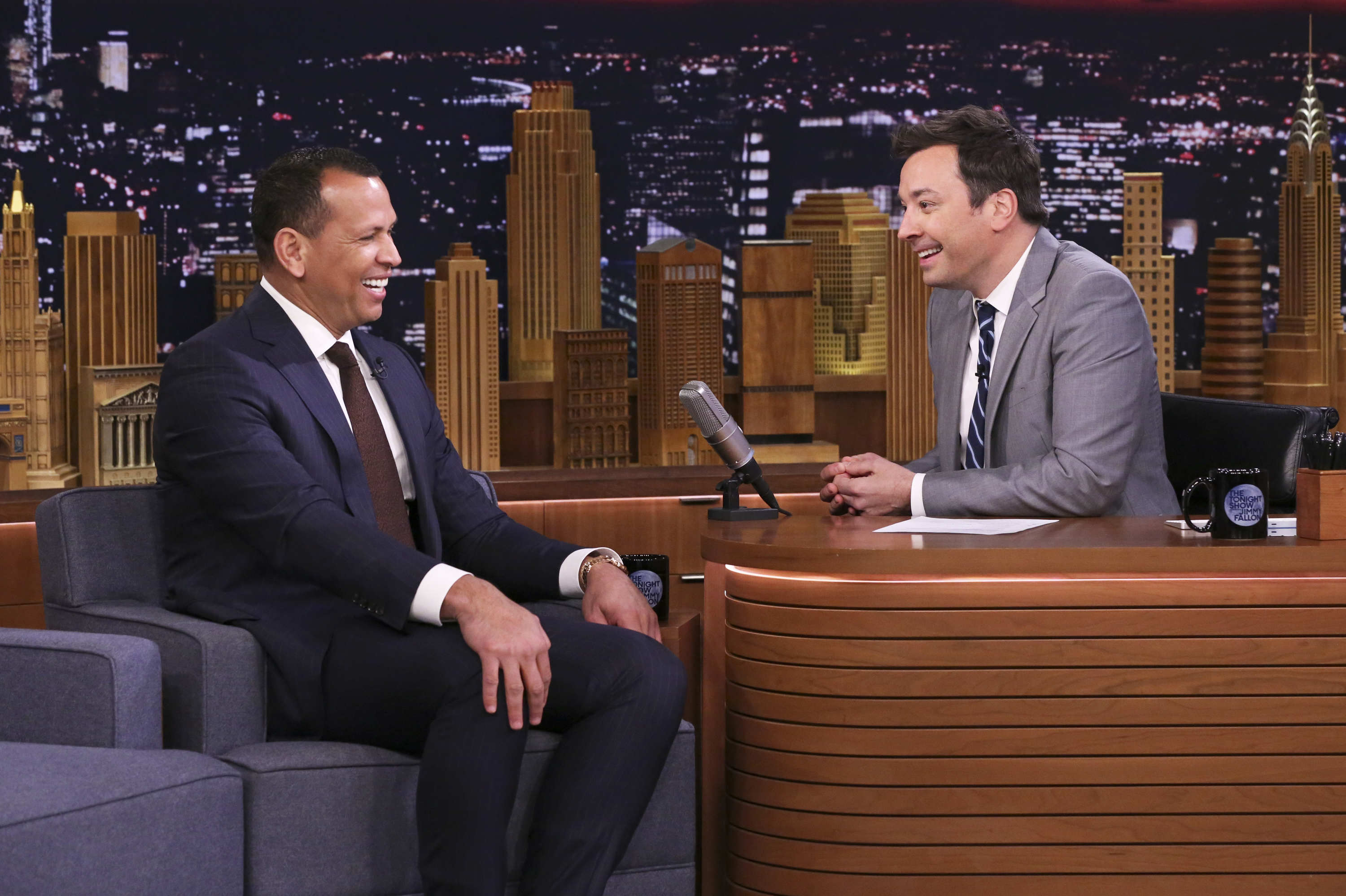 Alex Rodriguez Rehearsed His Proposal to Jennifer Lopez - THE TONIGHT SHOW STARRING JIMMY FALLON — Episode 1049 — Pictured: (l-r) Former baseball player Alex Rodriguez during an interview with host Jimmy Fallon on April 16, 2019.