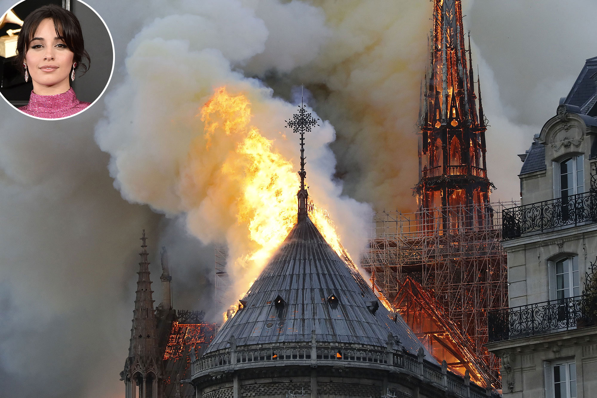 Notre Dame on Fire Camila Cabello - Flames and smoke are seen billowing from the roof at Notre-Dame Cathedral April 15, 2019 in Paris, France.