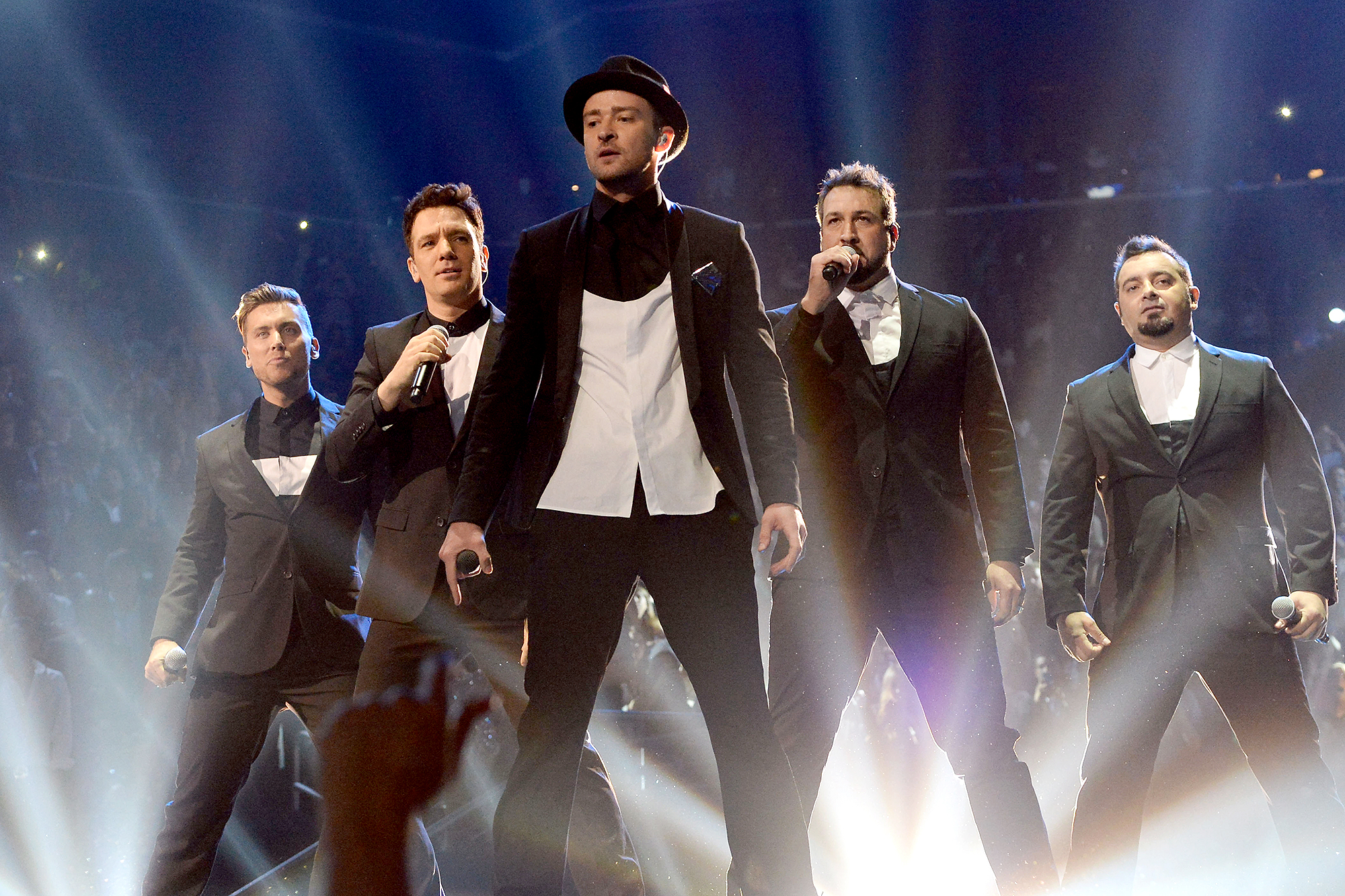 Nsync-Performing-Coachella - Lance Bass, JC Chasez, Justin Timberlake, Joey Fatone and Chris Kirkpatrick of 'NSync perform during the 2013 MTV Video Music Awards at Barclays Center in Brooklyn on August 25, 2013.