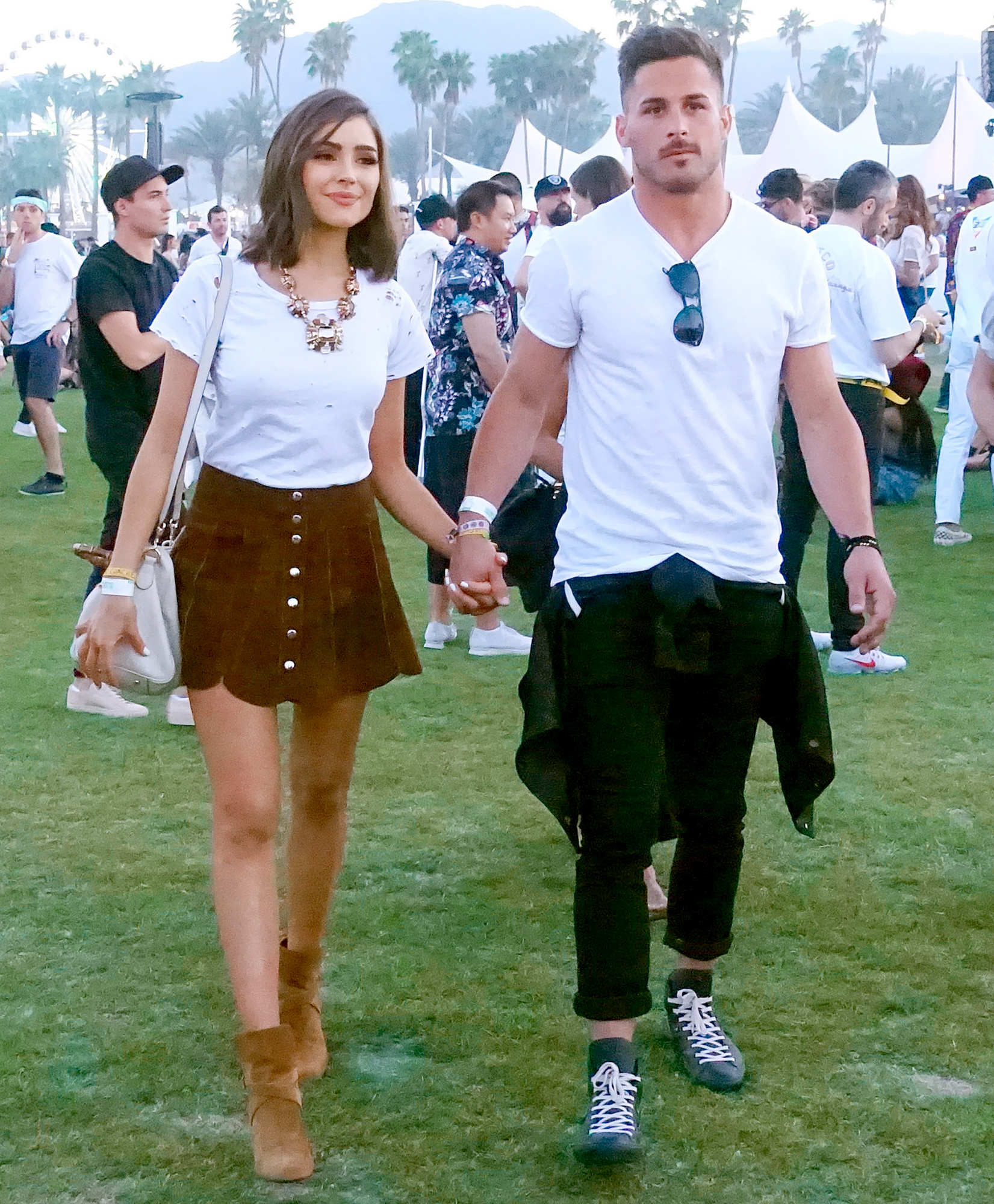 Olivia-Culpo-and-Danny-Amendola-Coachella - The model and the NFL player held hands while walking through the crowd in 2017.