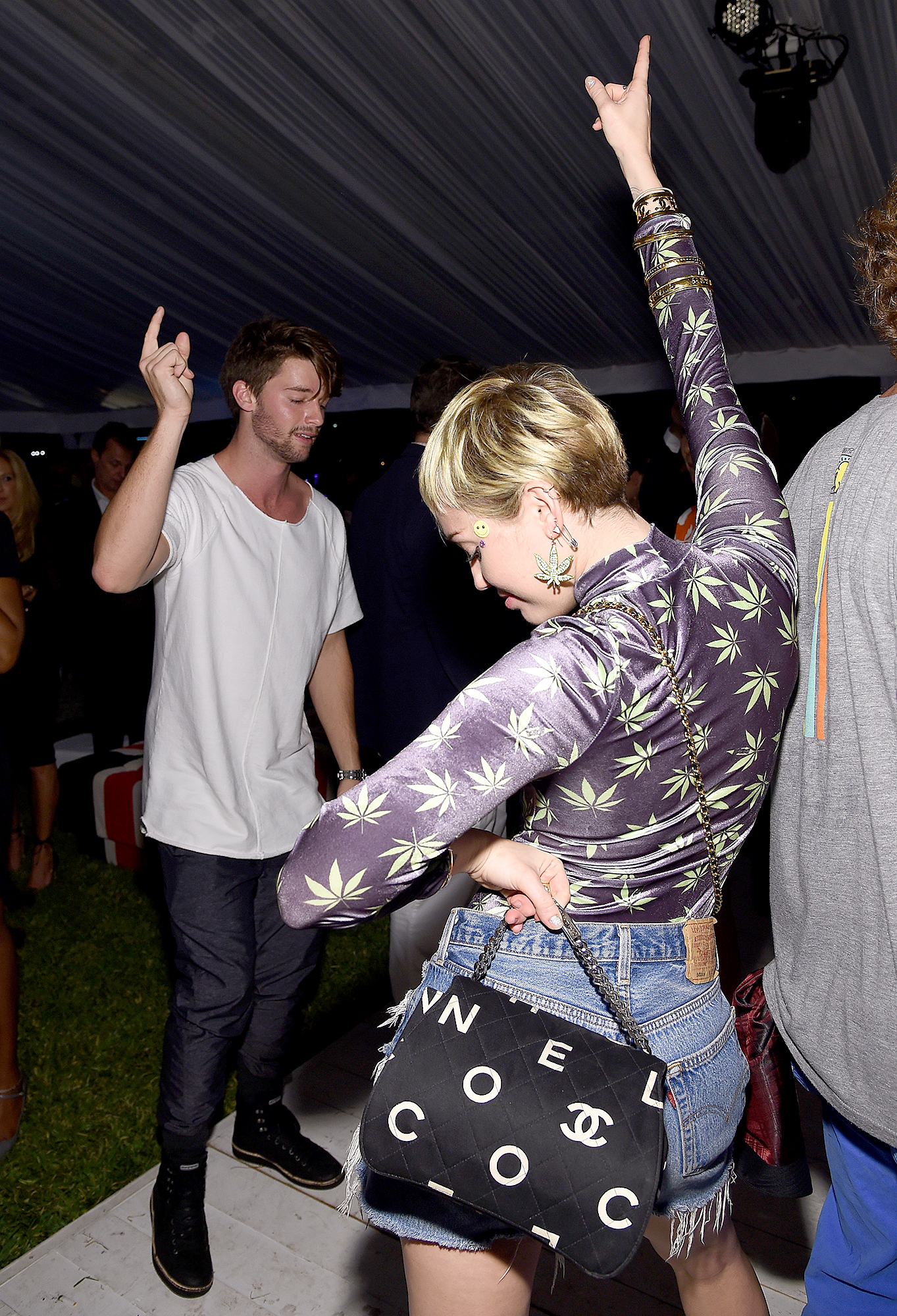 Patrick-Schwarzenegger-Went-to-Easter-High-During-Miley-Relationship-2 - Patrick Schwarzenegger and Miley Cyrus attends Haute Living presents Hublot Time Is Beautiful at the estate of JR and Loren Ridinger on December 5, 2014 in Miami, Florida.
