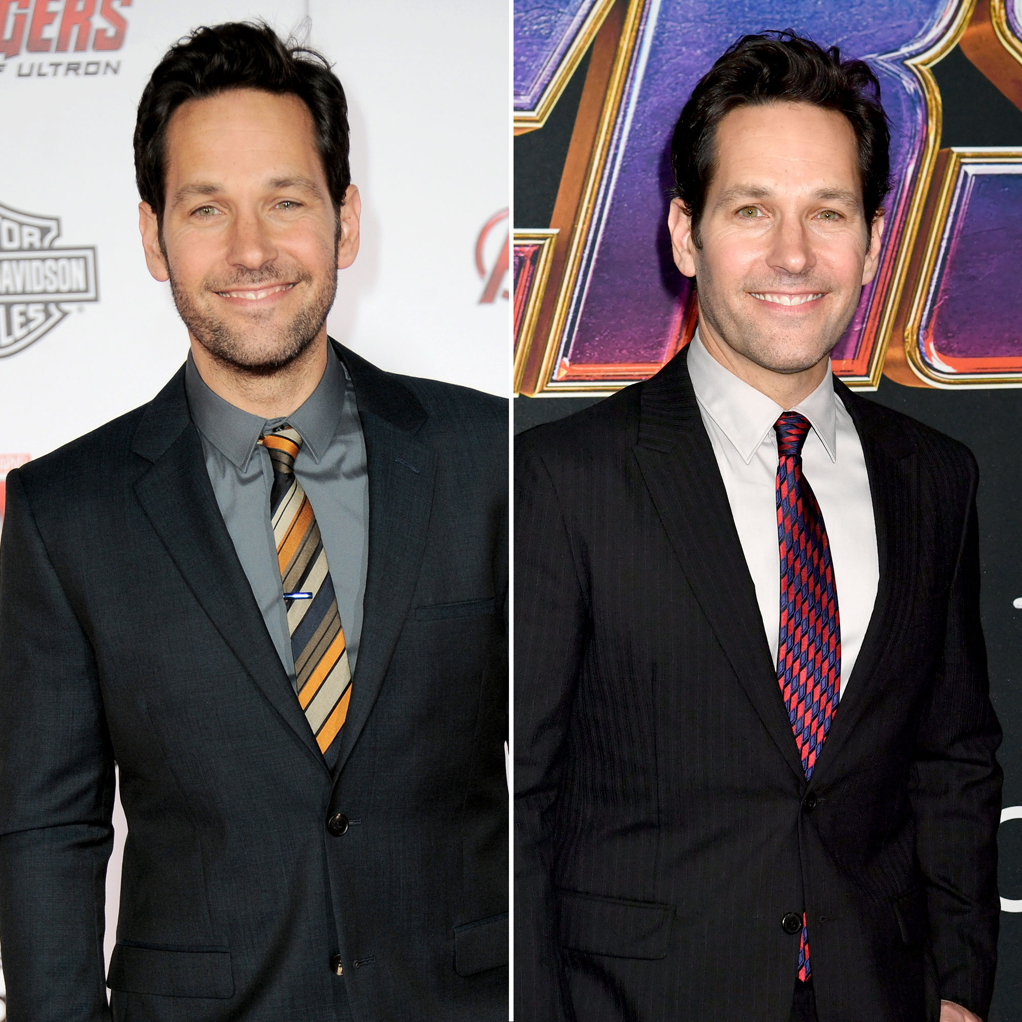 Paul Rudd Avengers Premiere First Super Red Carpet to Their Last - The Ant-Man star, who was introduced to the franchise with his own standalone film in 2015, walked the carpet at the Avengers: Age of Ultron premiere that same year, perhaps forshadowing his character's involvement in Endgame . Needless to say, Rudd , who has long been lauded for his agelessness , appeared nearly identical in the three years that have passed.