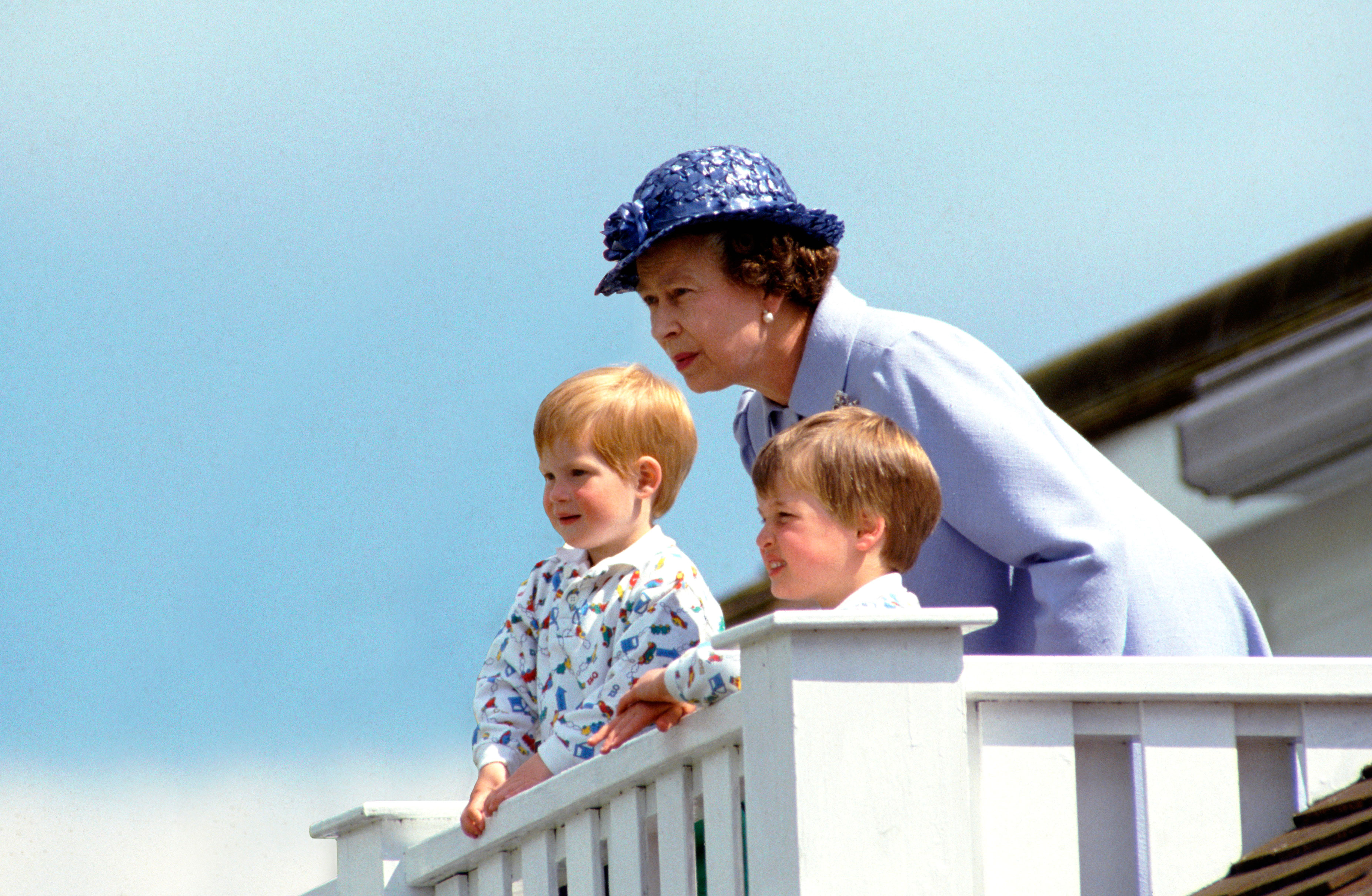 Prince Harry Duchess Meghan Wish Queen Elizabeth Happy 93rd Birthday - The Queen With Prince William And Prince Harry In The Royal Box At Guards Polo Club, Smiths Lawn, Windsor.