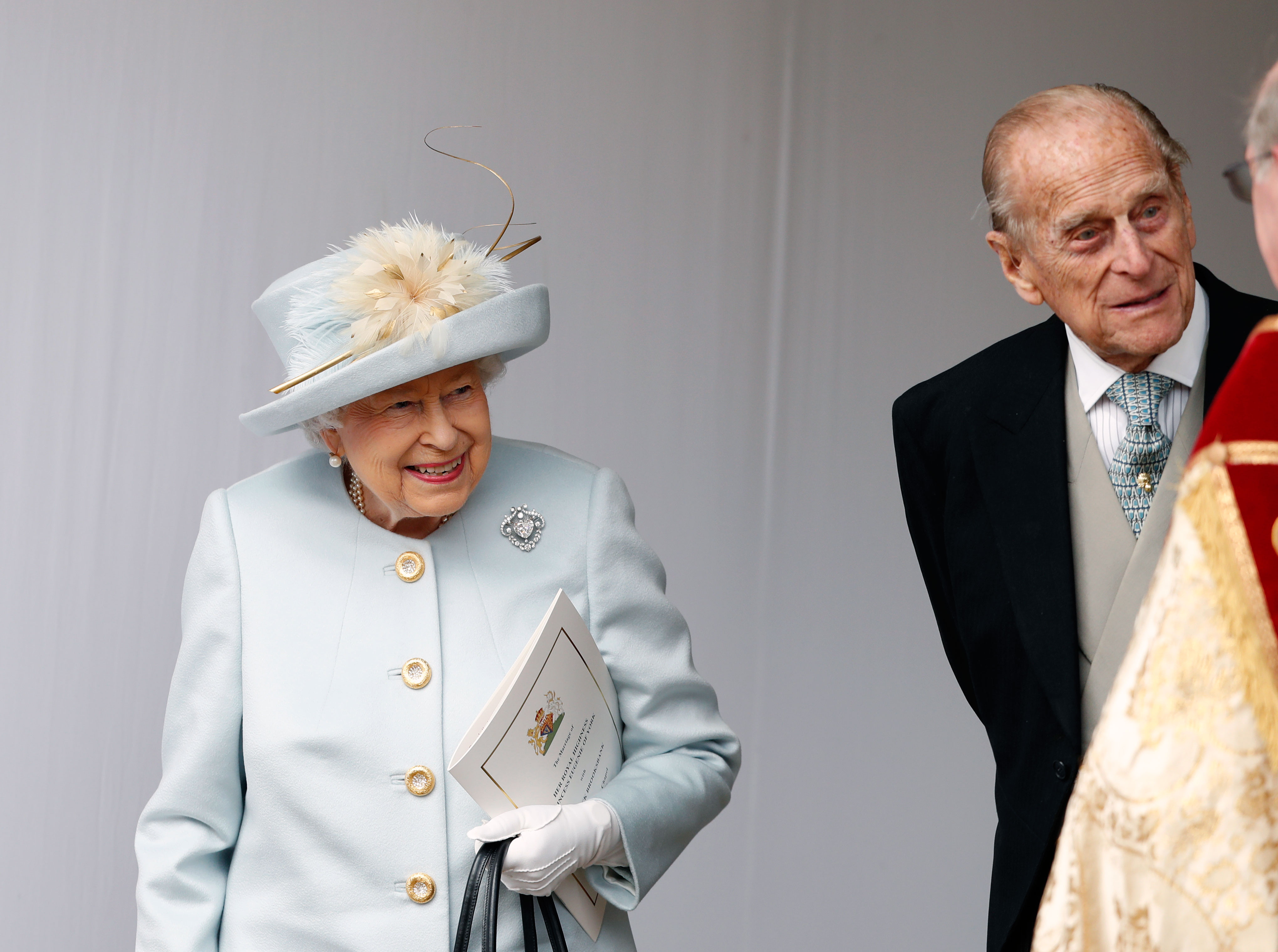 Prince Harry Duchess Meghan Wish Queen Elizabeth Happy 93rd Birthday - Queen Elizabeth II and Prince Philip, Duke of Edinburgh look on after the wedding of Princess Eugenie of York and Mr. Jack Brooksbank at St. George's Chapel on October 12, 2018 in Windsor, England.