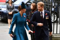 Prince Harry and Duchess Kate Make Joint Appearance at Westminster Abbey Smiling Blue Dress Navy Suit