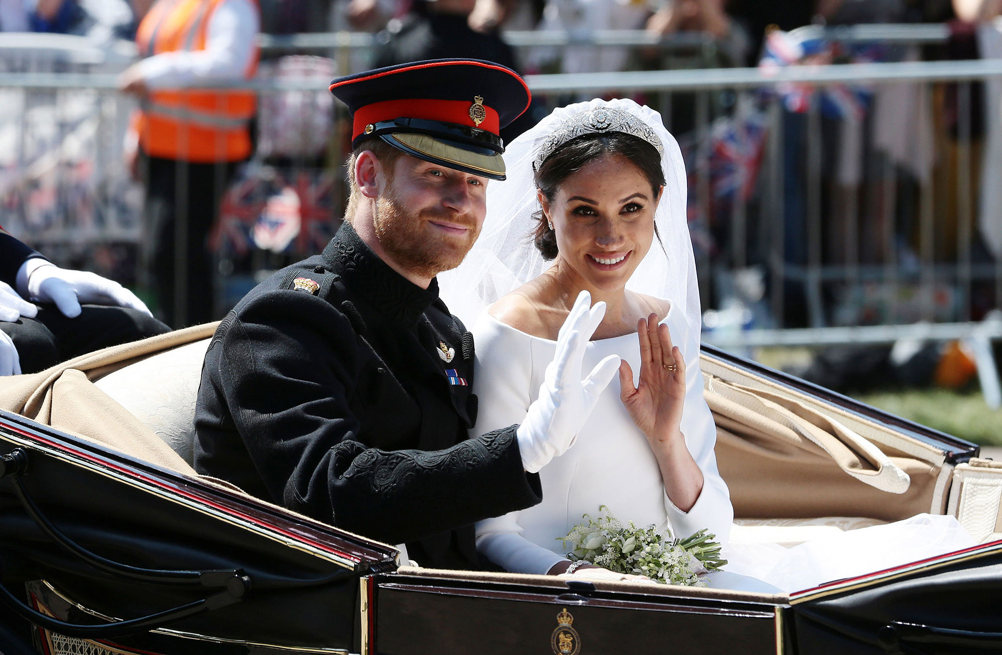 Celebrity Couples Who Got Engaged and Married in the Same Year - WINDSOR, ENGLAND – MAY 19: (EDITORS NOTE: Retransmission of #960087582 with alternate crop.) Prince Harry, Duke of Sussex and Meghan, Duchess of Sussex wave from the Ascot Landau Carriage during their carriage procession on Castle Hill outside Windsor Castle in Windsor, on May 19, 2018 after their wedding ceremony. (Photo by Aaron Chown – WPA […]