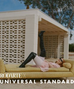 Rodarte x Universal Standard collection black boots pink outfit