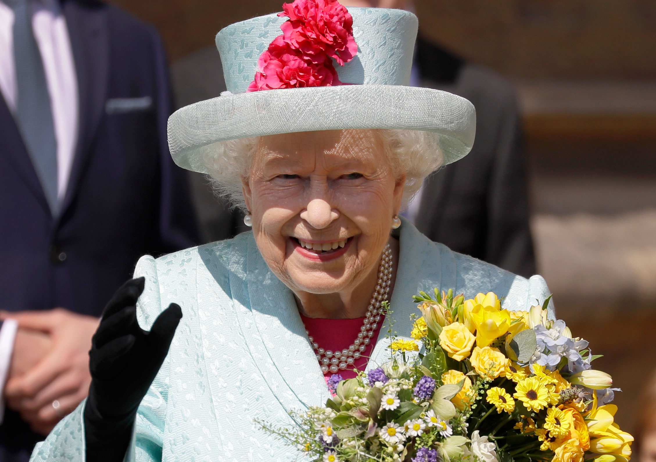 Queen Elizabeth II Royal Family Celebrate Easter - The queen beamed as she entered the chapel on her birthday.
