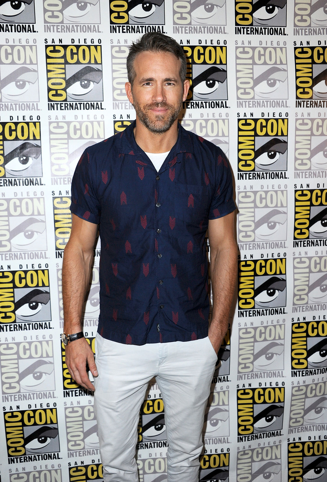 "Ryan Reynolds - Ryan Reynolds attends the ""Deadpool 2"" panel during Comic-Con International 2018 at San Diego Convention Center on July 21, 2018 in San Diego, California."