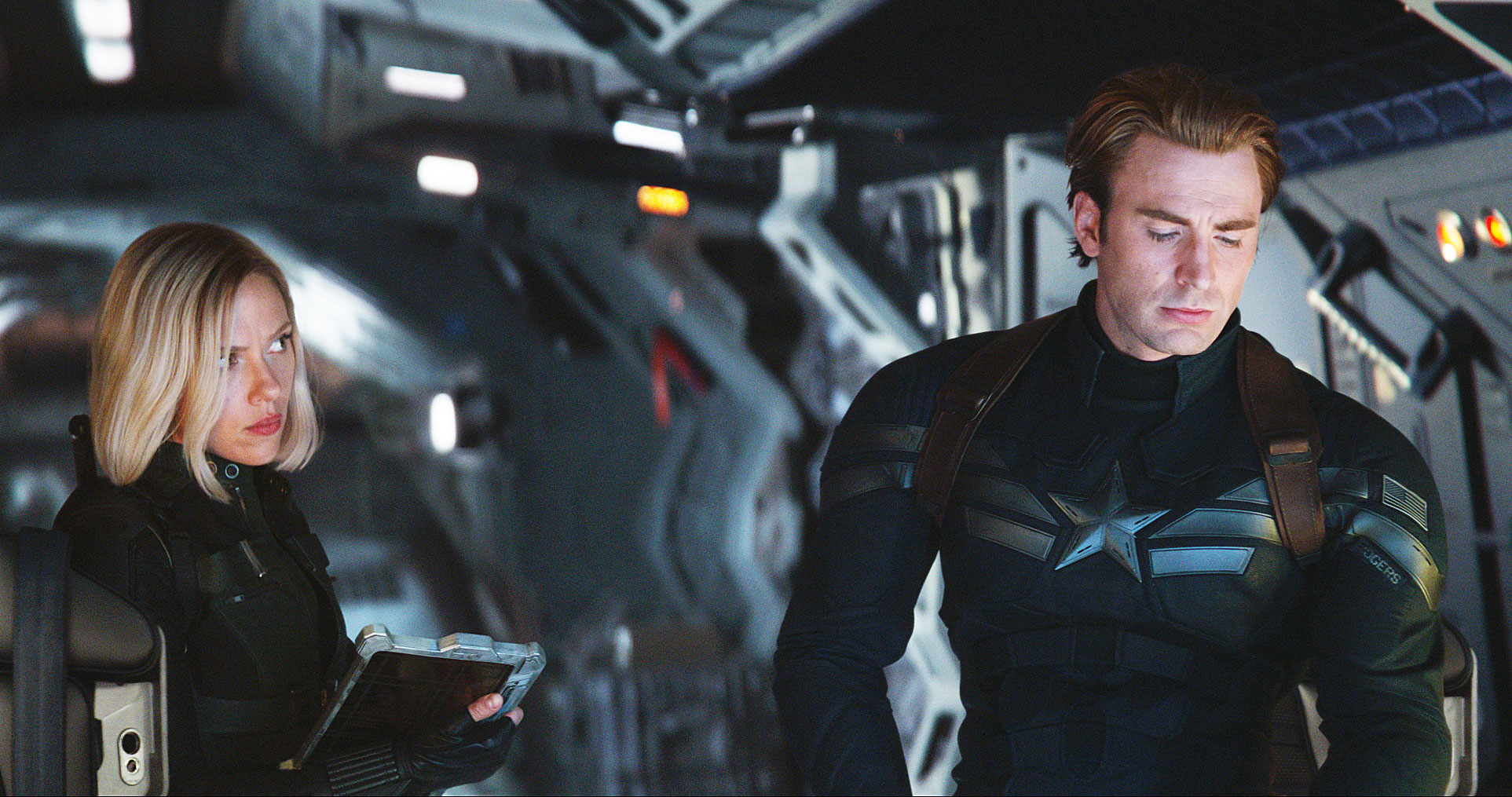 Avengers Endgame Movie Review Scarlett Johansson Chris Evans - Scarlett Johansson as Black Widow/Natasha Romanoff and Chris Evans as Captain America/Steve Rogers in 'Avengers: Endgame.