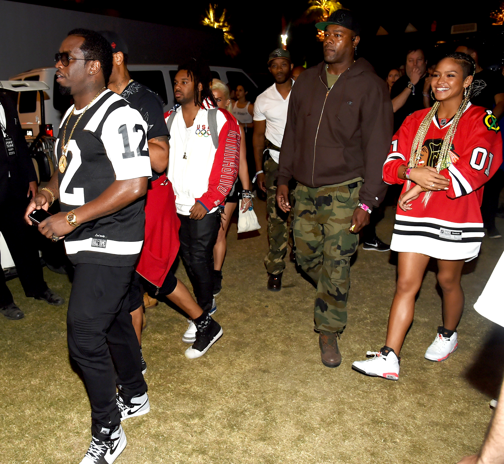 "Sean-Combs-Cassie-Coachella - The rapper and the ""Me & U"" singer brought along an entourage in 2014."