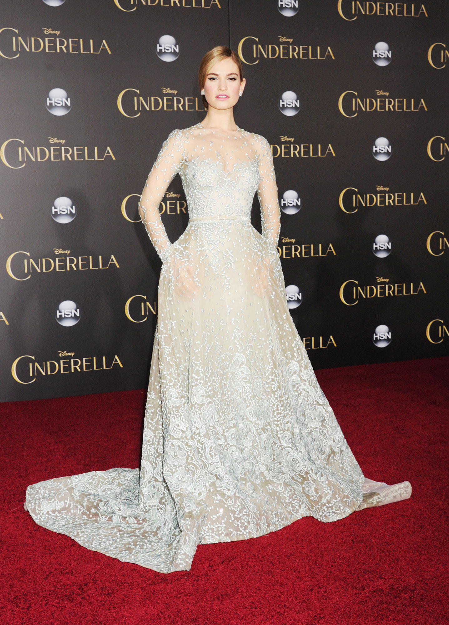 See Birthday Girl Lily James¹ Most Stylish Red Carpet Moments - At the Hollywood premiere of Cinderella , the blonde beauty looked like a Disney princess IRL in her Elie Saab couture gown and bedazzled Christian Loubotuin heels.
