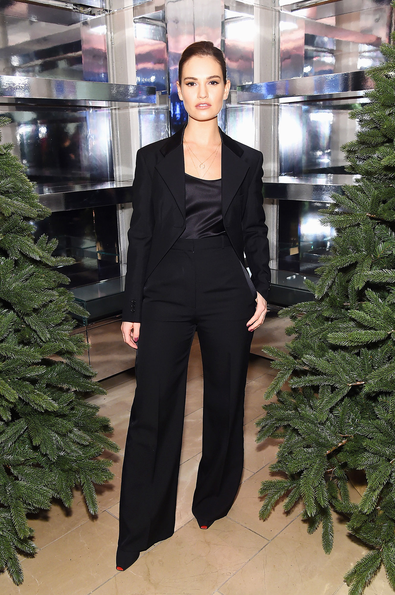 See Birthday Girl Lily James¹ Most Stylish Red Carpet Moments - All-black-everything was the name of the game for the Mamma Mia star at a Burberry event in NYC.