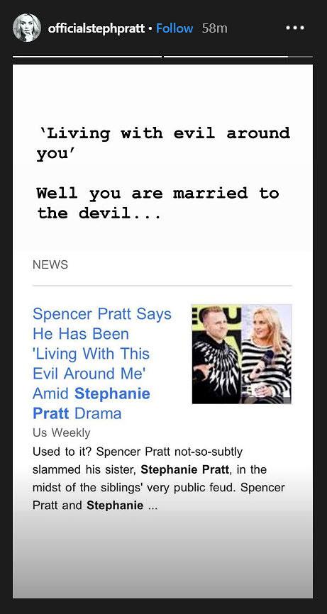 Stephanie Pratt Shades Spencer Pratt - Stephanie Pratt/Instagram