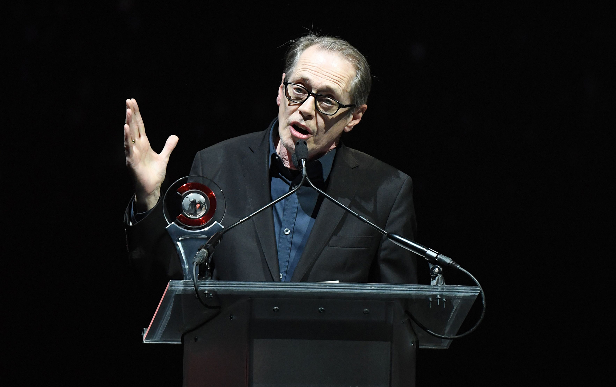 Steve Buscemi Thanks Late Wife Jo Andres for Being His 'Biggest Supporter' - Steve Buscemi speaks on stage for the 2019 Big Screen Achievement Awards at The Colosseum at Caesars Palace on April 4, 2019.