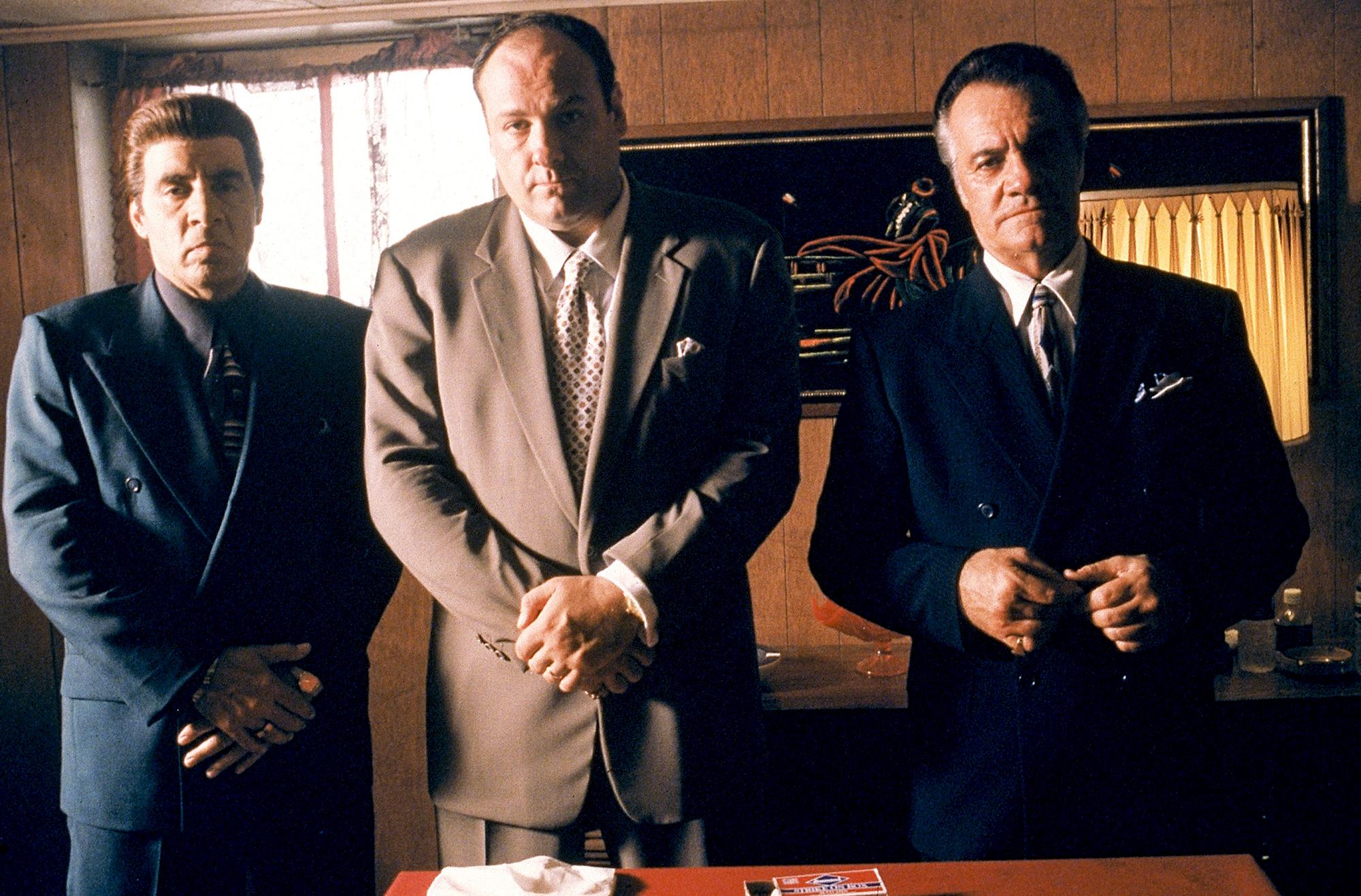 Steven-Van-Zandt-as-Silvio-Dante,-James-Gandolfini-as-Tony-Soprano-and-Tony-Sirico-as-Paulie-Walnuts