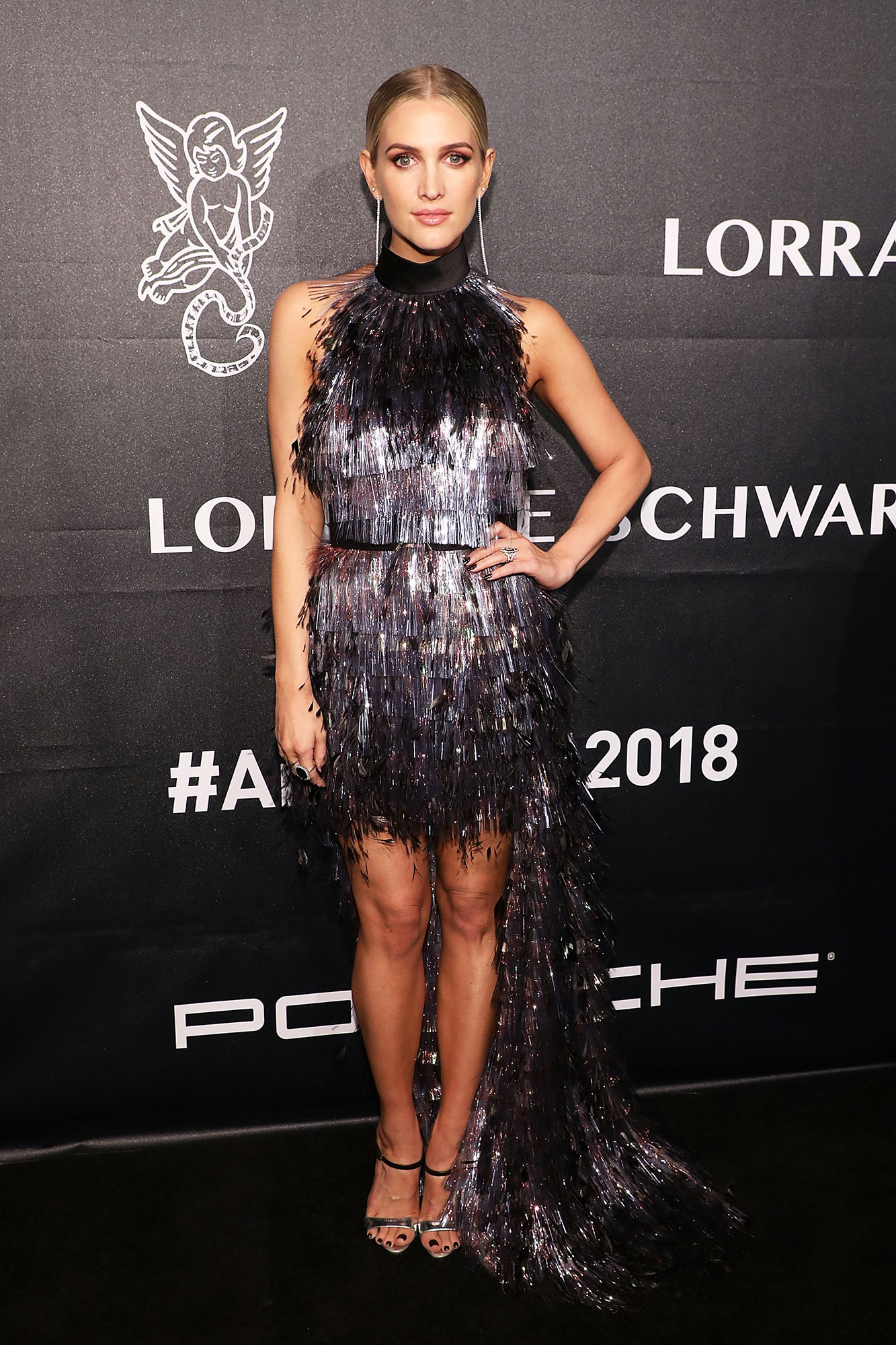 Ashlee Simpson stylish - In a foil-fringed Ralph & Russo on Oct. 22.